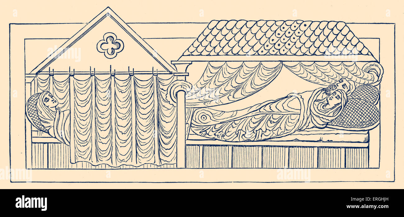Beds in 11th century England - illustration. 19th century reproduction. - Stock Image