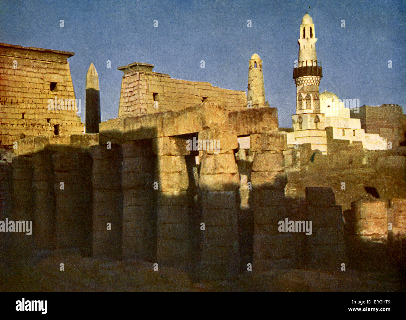 Temple of Luxor at eventide', Egypt.  Ancient Egyptian temple complex. Photograph in 1923 book. - Stock Image