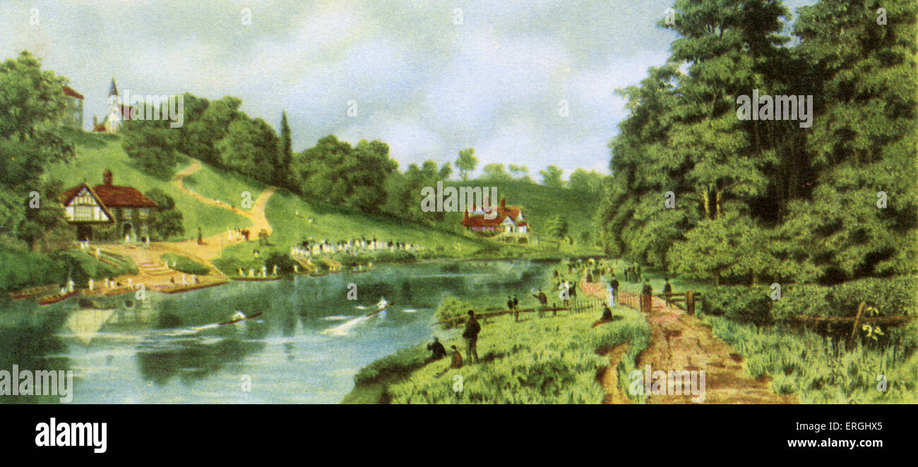 Shrewsbury School Regatta. Coloured etching by Walter Alfred Cox (1862 - 1908) after H.B. Wimbush, 1891. - Stock Image