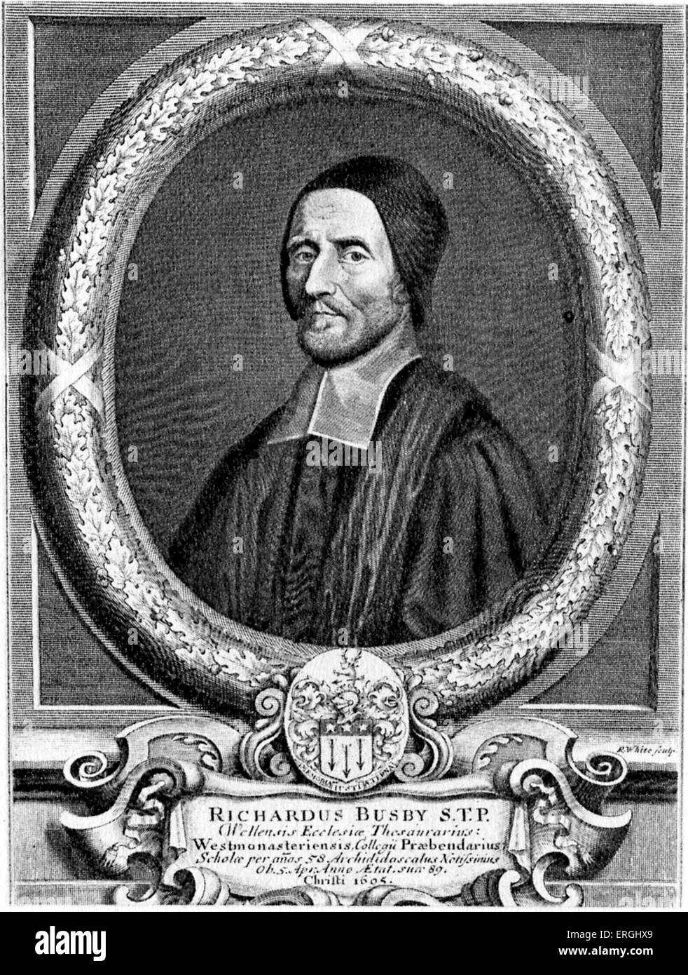 Richard Busby of Westminster, 1606 - 1695. Engraving after a painting by Henry Tilson (1659 - 1695). RB: Anglican - Stock Image