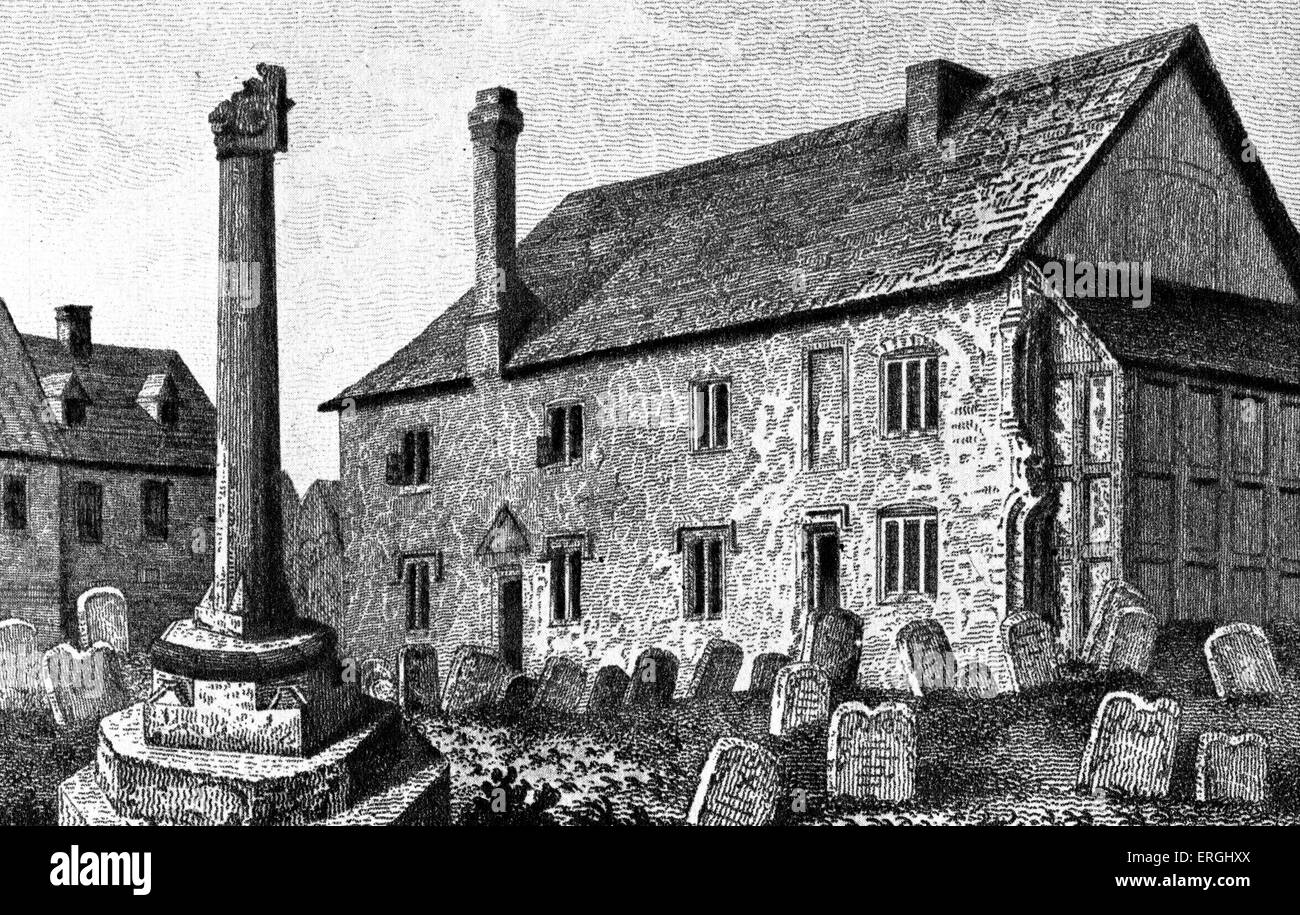 Grammar school at Dorchester, Oxfordshire. Nineteenth century engraving. Stock Photo