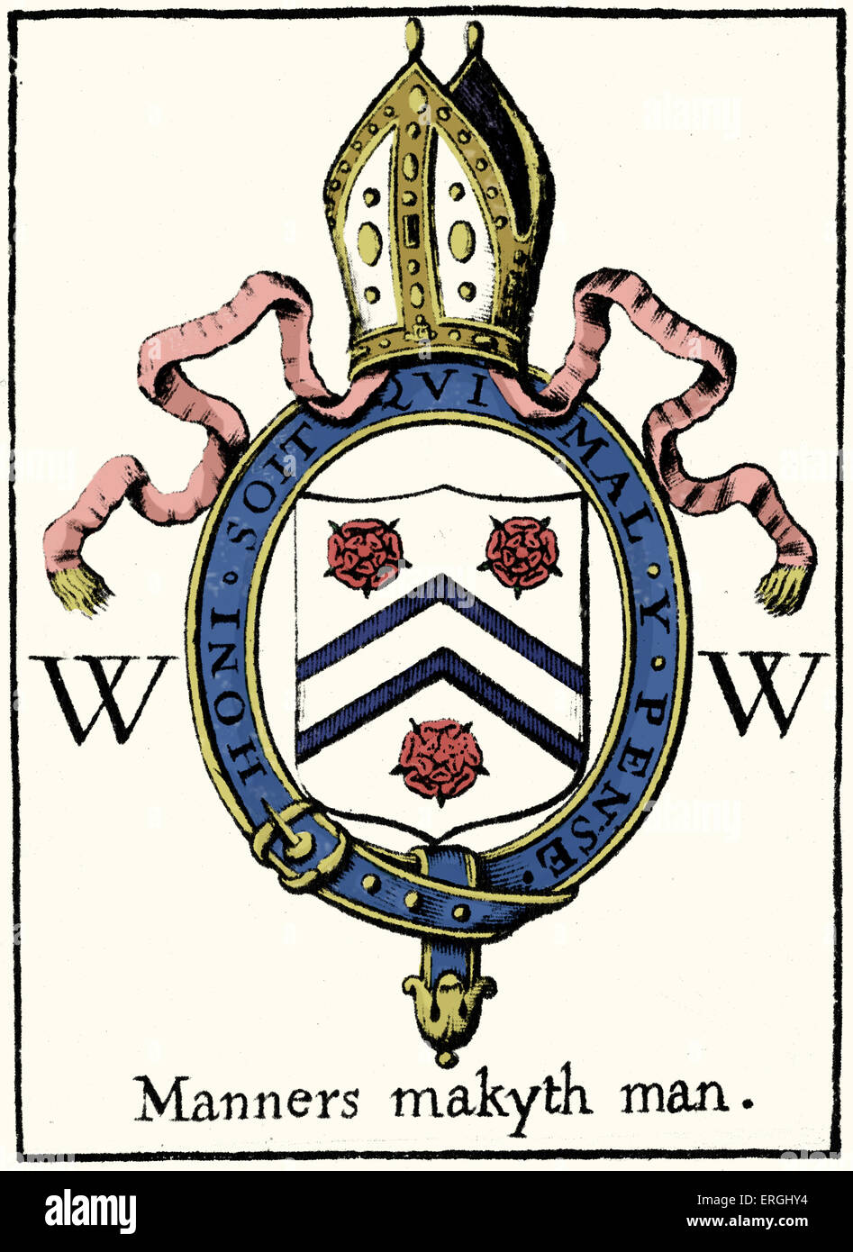 William of Wykeham's crest. Engraving from Prayers for the use of Winchester College, 1677. Author unknown. - Stock Image