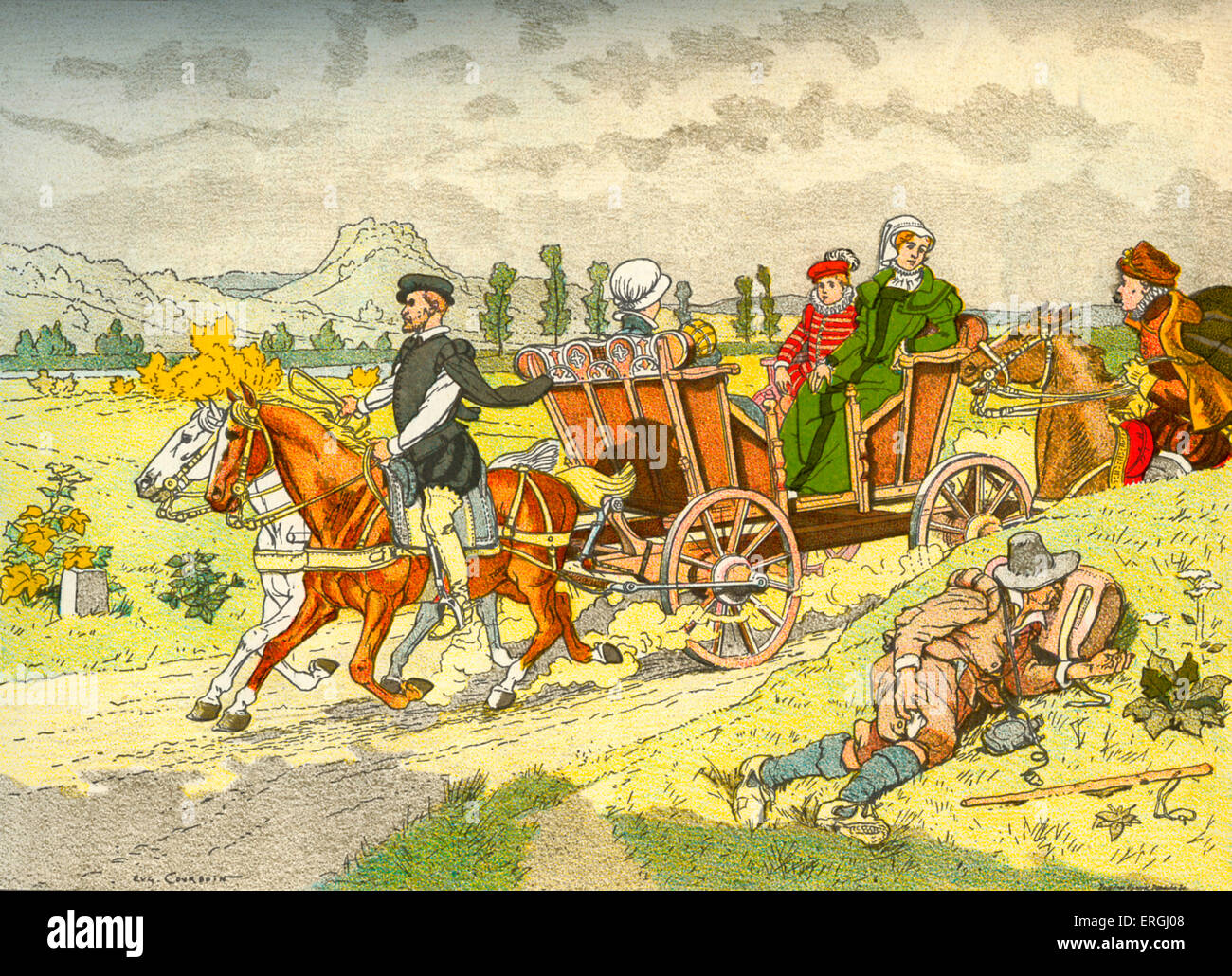 Vis-à-vis (carriage) - first appearance, 16th century  From  illustration by Eugène Courboin, 1912.  (French: - Stock Image