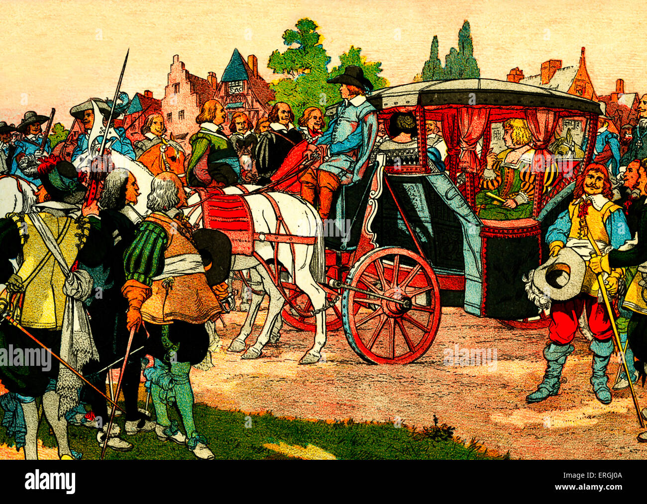 Marie de' Medici 's journey to the Netherlands. From illustration by Eugene Courboin, c. 1912.  Queen consort - Stock Image