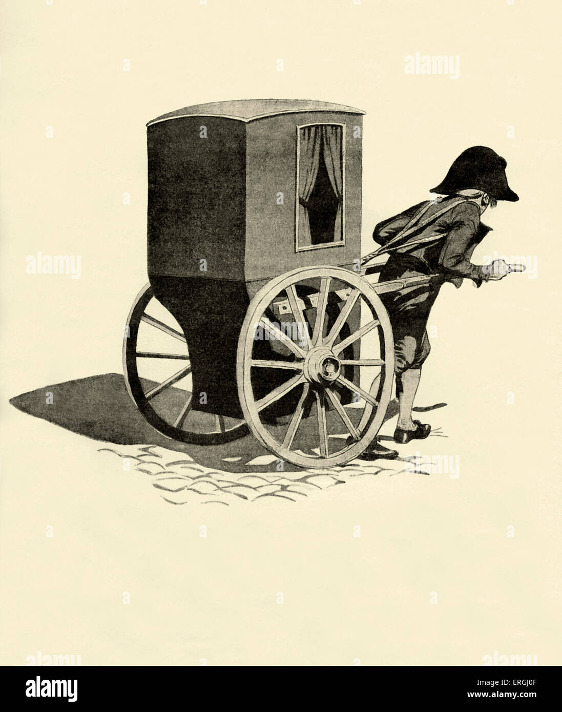 18th century vinaigrette (two wheeled carriage) in France. Invented in 17th century. Used until 20th century as Stock Photo