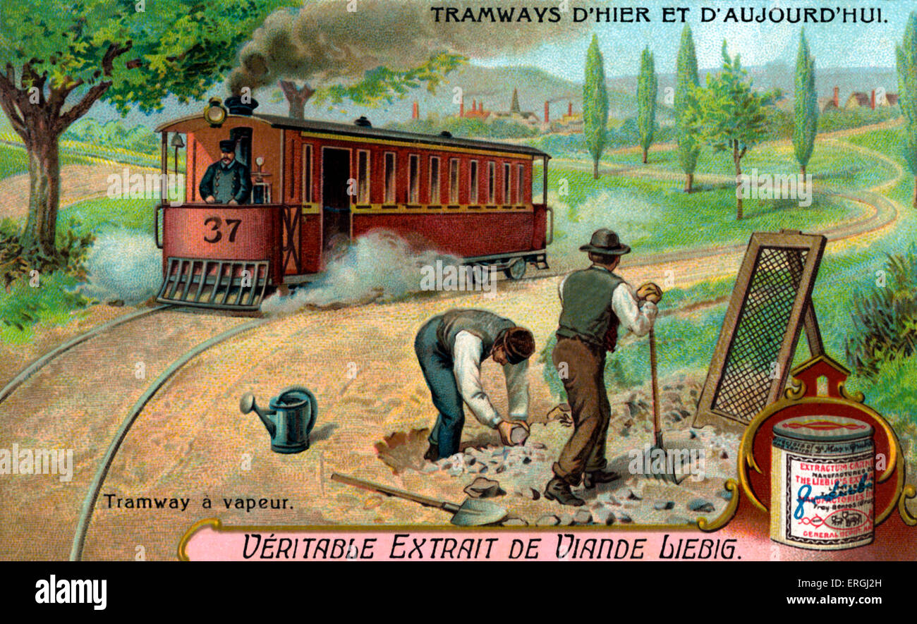 Steam tram . Illustration from Liebig collectible card series: 'Tramways Yesterday and Today' ('Tramways - Stock Image