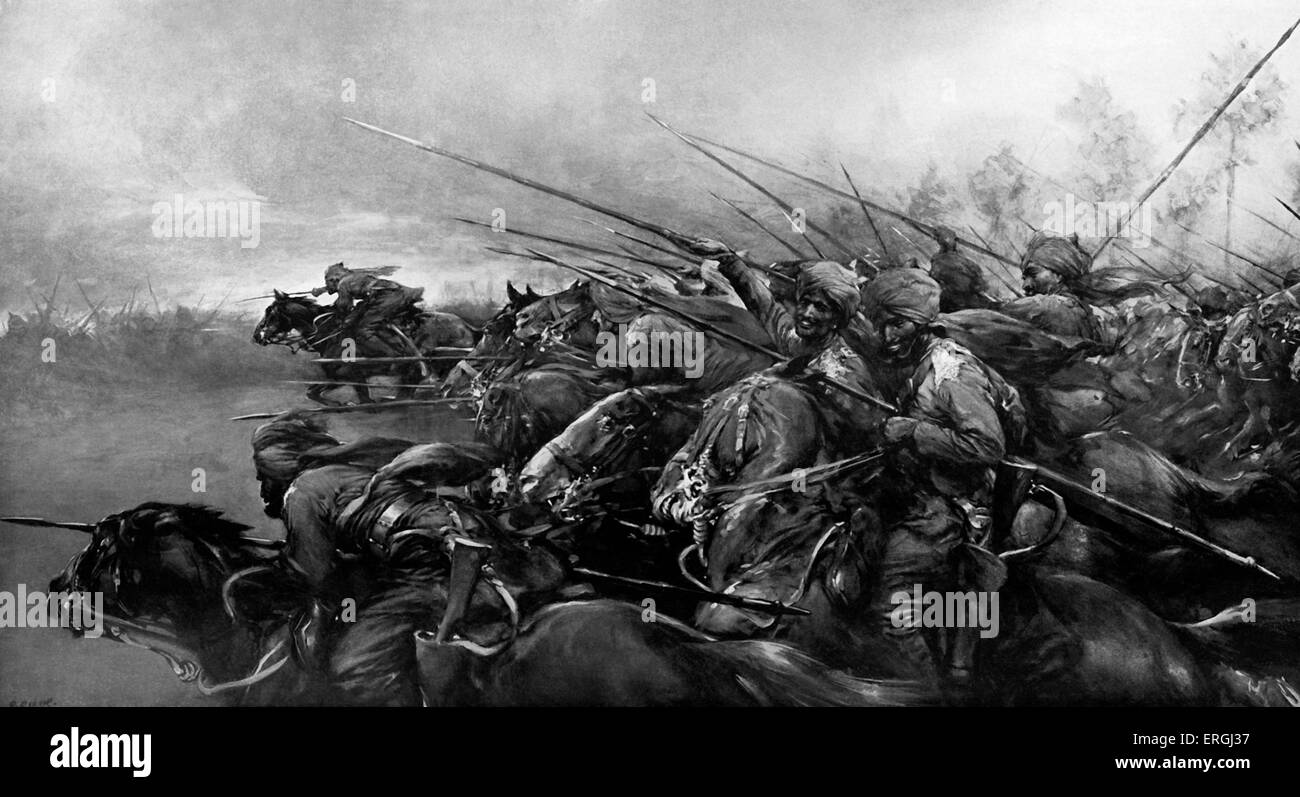 'Charge!' - The Bengal Lancers in action. An incident on the Western Front. Illustration by Christopher - Stock Image