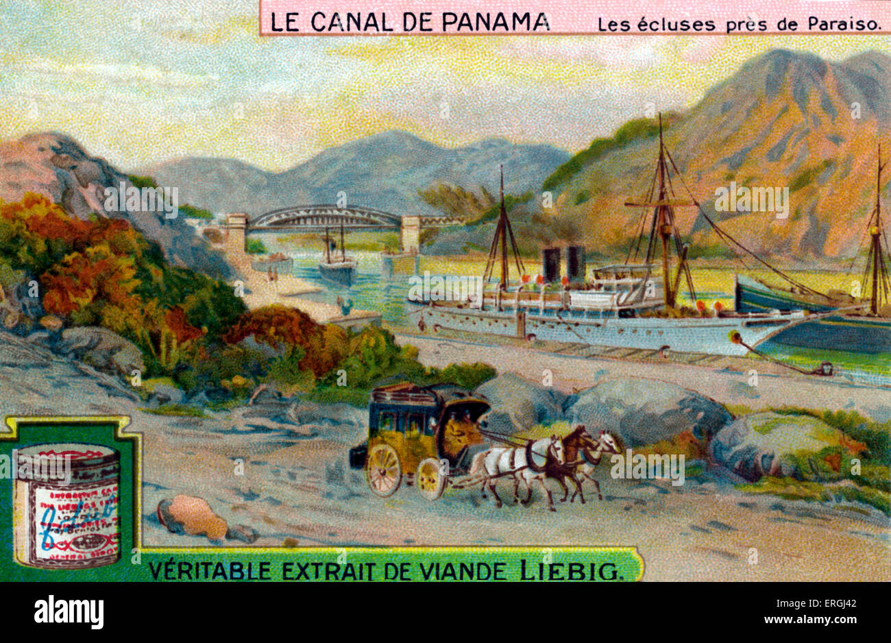 The Panama Canal: Locks near Paraiso. Liebig collectible card  series (French title: 'Le Canal de Panama'). - Stock Image