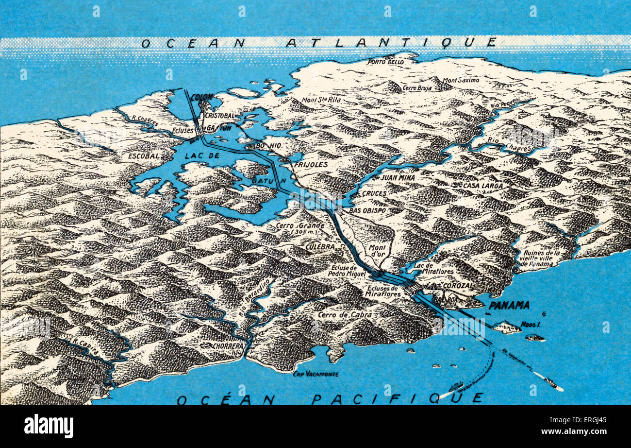 Map of Panama Canal. Constructed between 1881 and 1914 across the ...