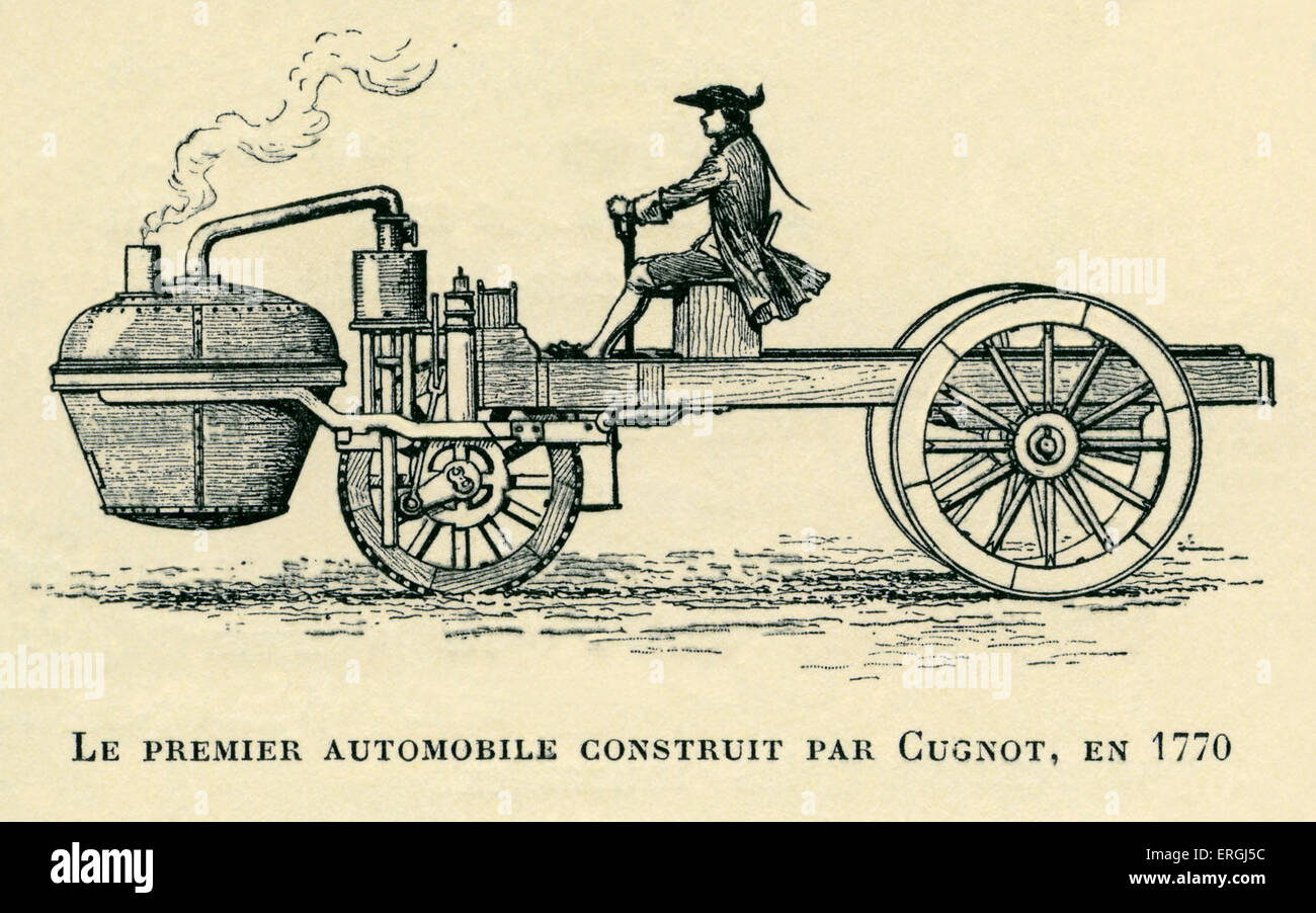 First automobile contructed by Cugnot in 1770. Illustration by Stock ...
