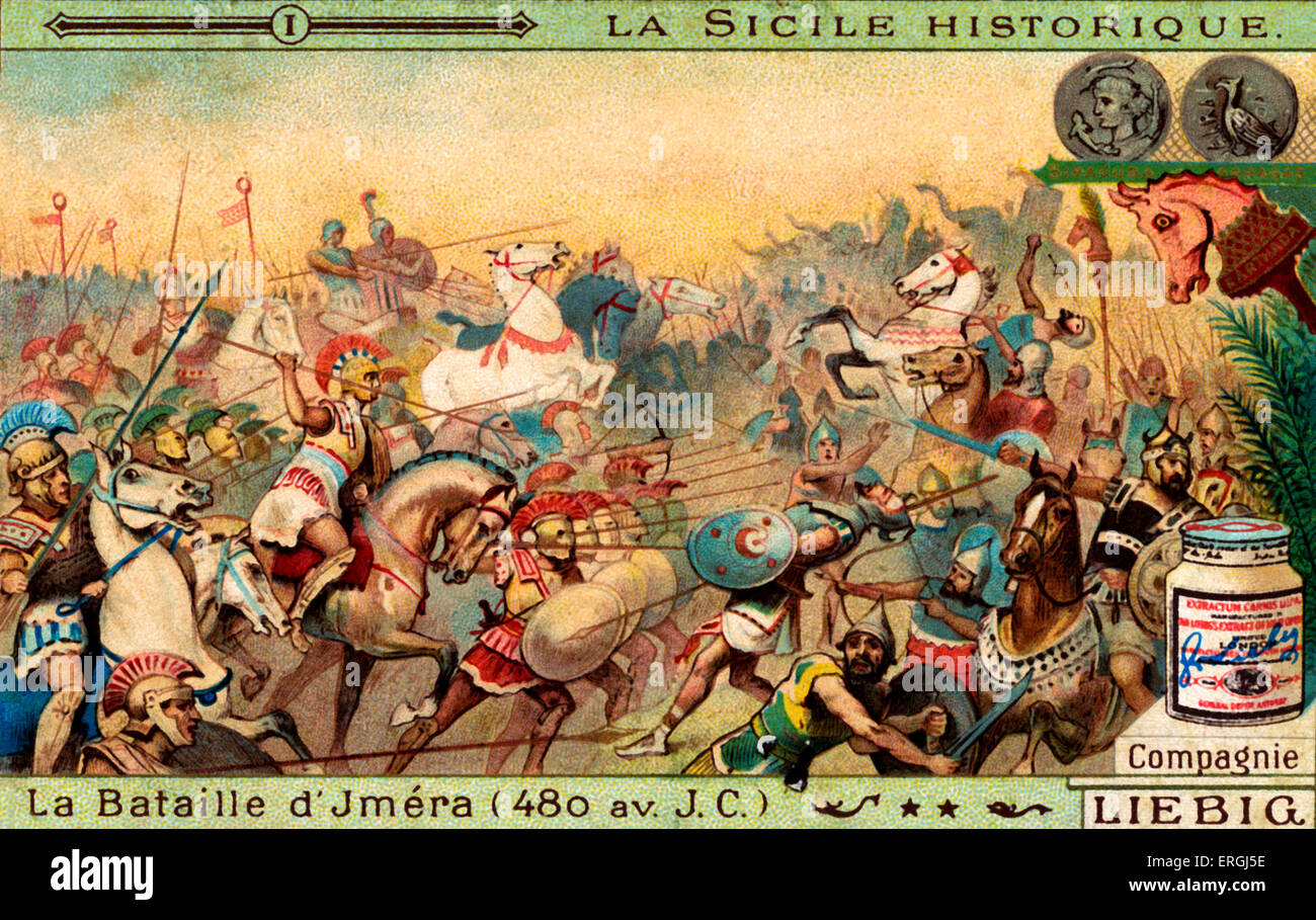 History of Sicily: Battle of Himera, 480 BC. Illustration on Liebig collectible card (French series: 'La Sicile - Stock Image