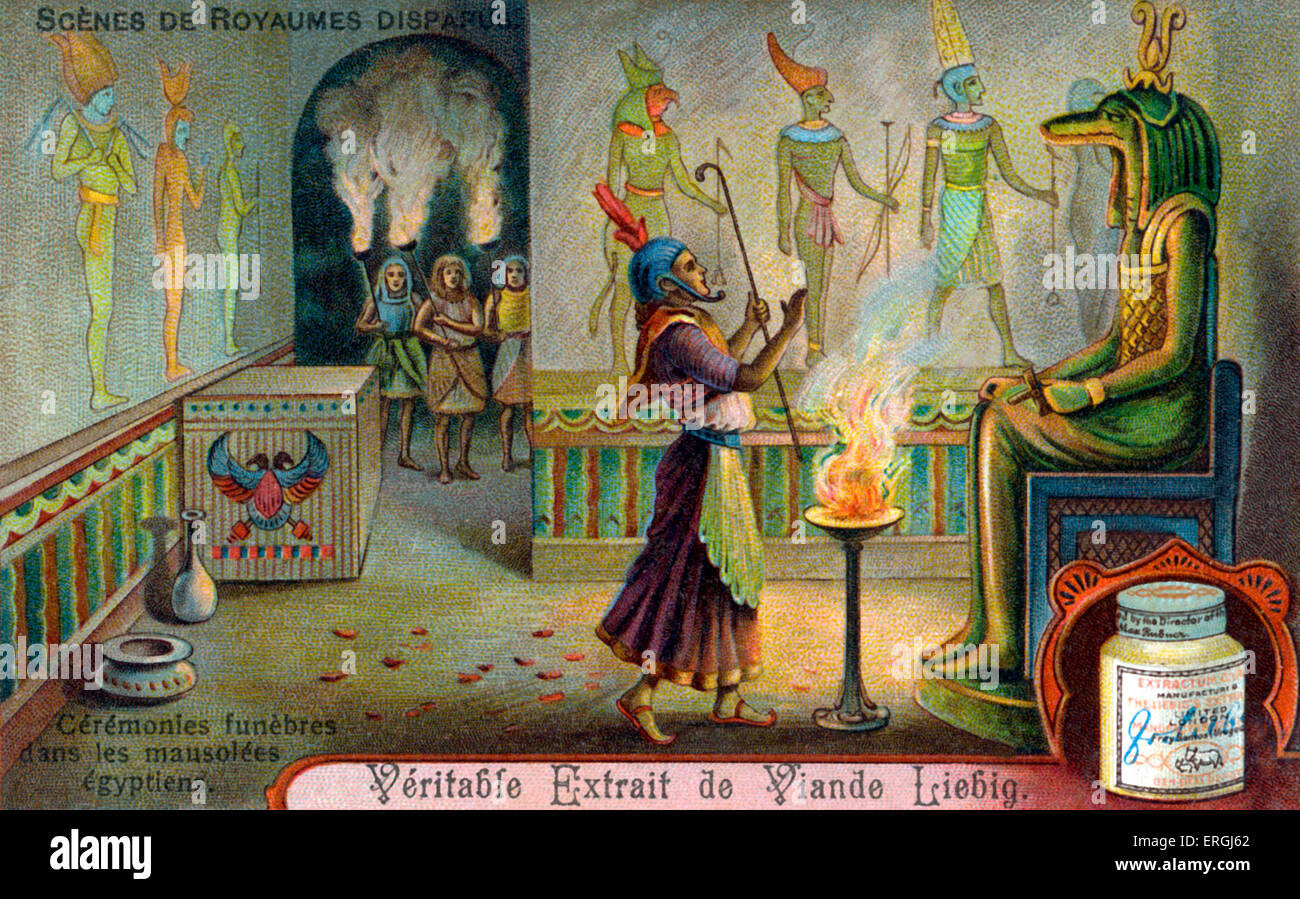 Vanished Civilisations: Ancient Egypt. Funeral ceremony in a mausoleum. Illustration on Liebig collectible card - Stock Image