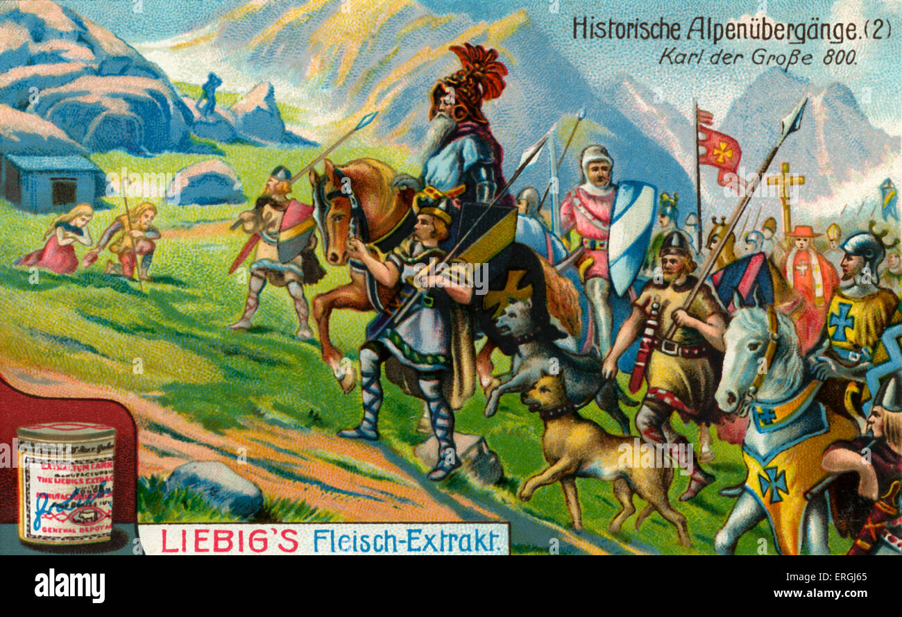 Charlemagne crossing the Alps in 800 A.D in order to be crowned Emperor of the Carolingian Empire (Holy Roman Emperor) - Stock Image
