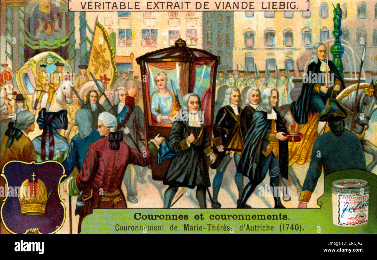 Coronation of Maria Theresa of Austria, 25 June 1741 as Queen of Hungary and Croatia; Archduchess of Austria. Illustration - Stock Image