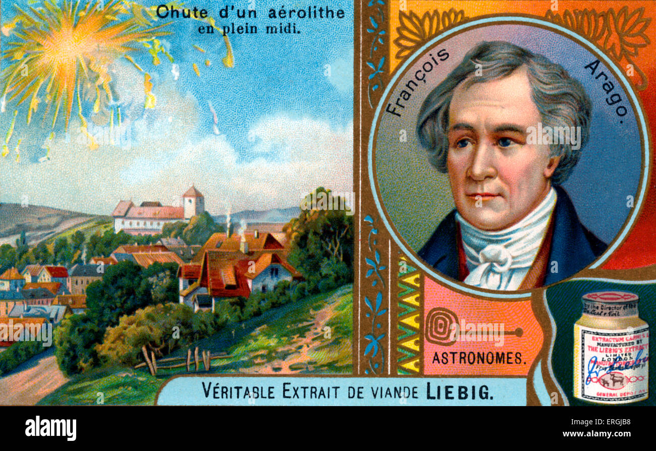 François Arago  -  with depiction of aerolite (meteorite of silicate minerals) falling in daylight.   Portrait - Stock Image