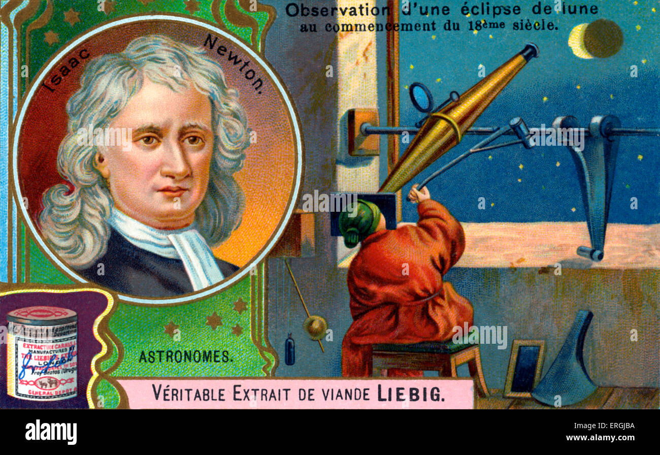 Isaac Newton - pictured with astronomer observing a lunar eclipse, early 18th century. Portrait illustration on - Stock Image