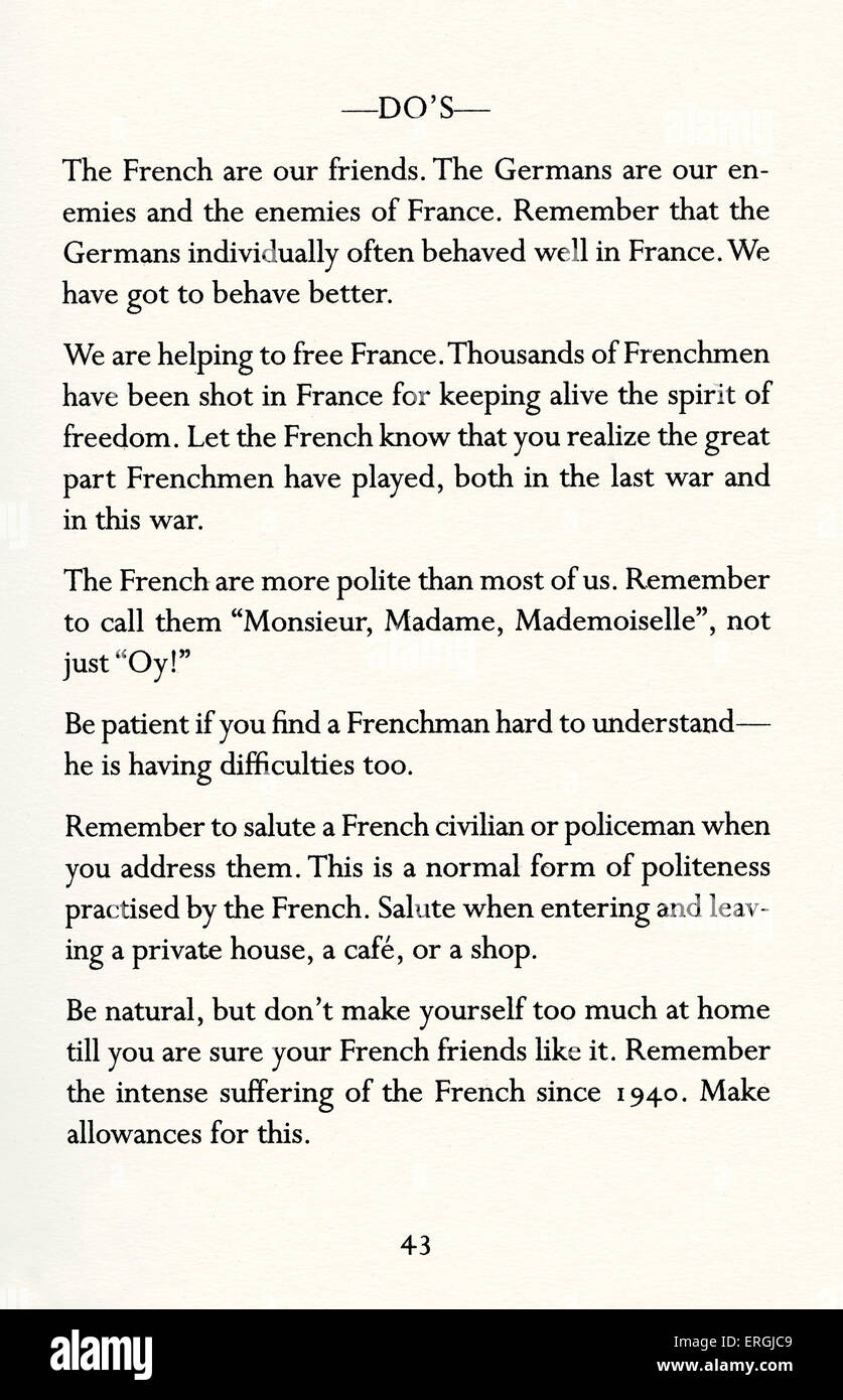 Instructions for British Servicemen in France 1944. List of DO's: 'The French are our friends. The Germans - Stock Image