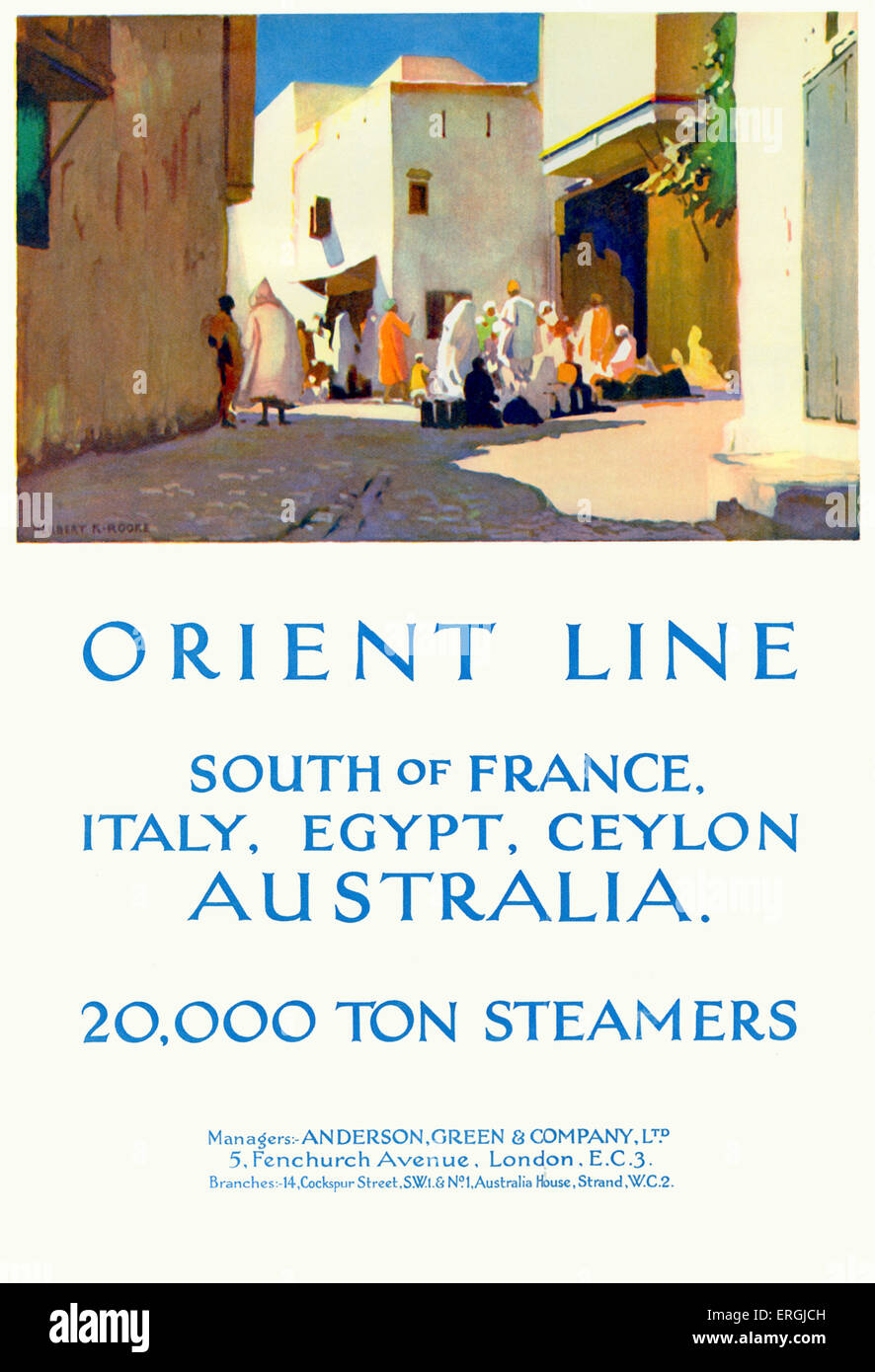 Orient Line cruise ship travel advertisement, 1930. Caption reads: 'Orient Line. South of France, Italy, Egypt, Stock Photo