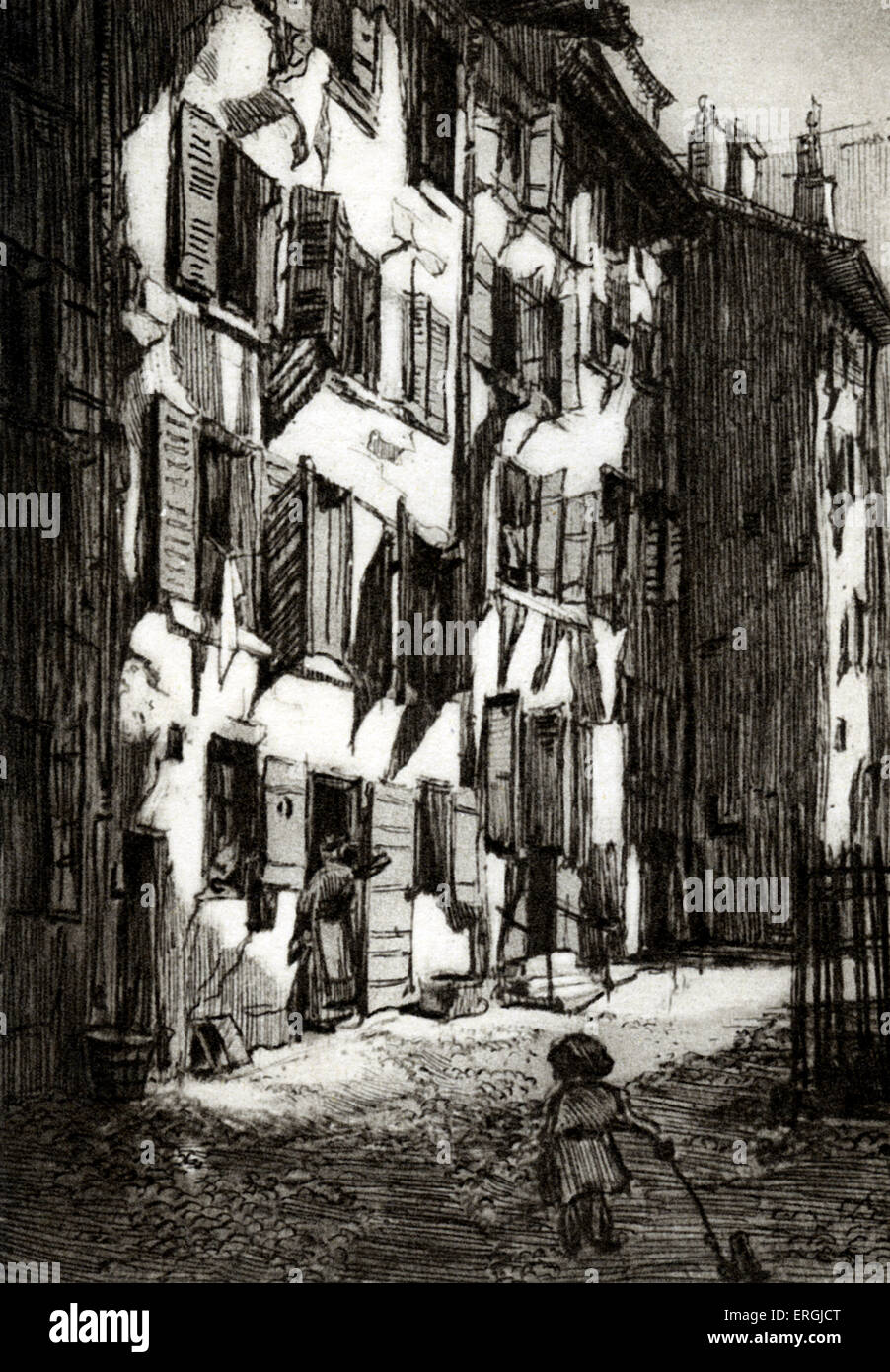 Old quarter of Geneva. Monochrome print from illustration by Verdier (dates unknown). - Stock Image