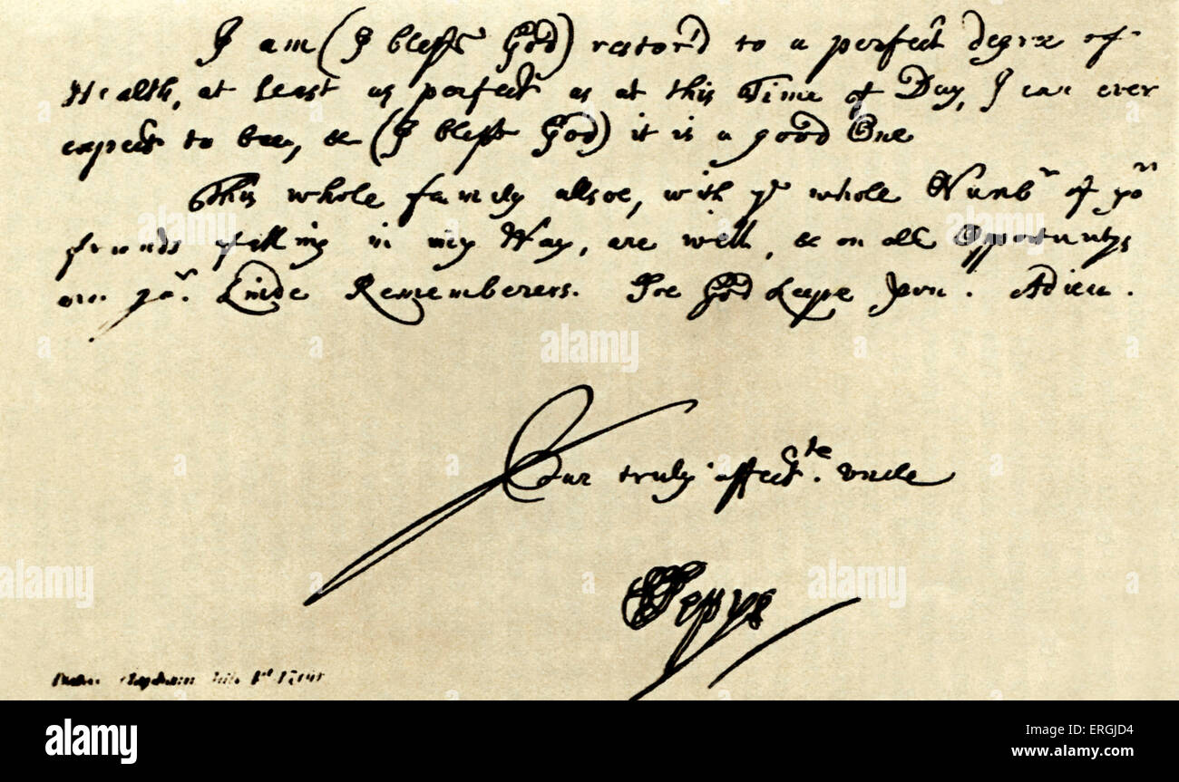 Handwriting of Samuel Pepys. Date unknown. Featured in The Diary of Samuel  Pepys.