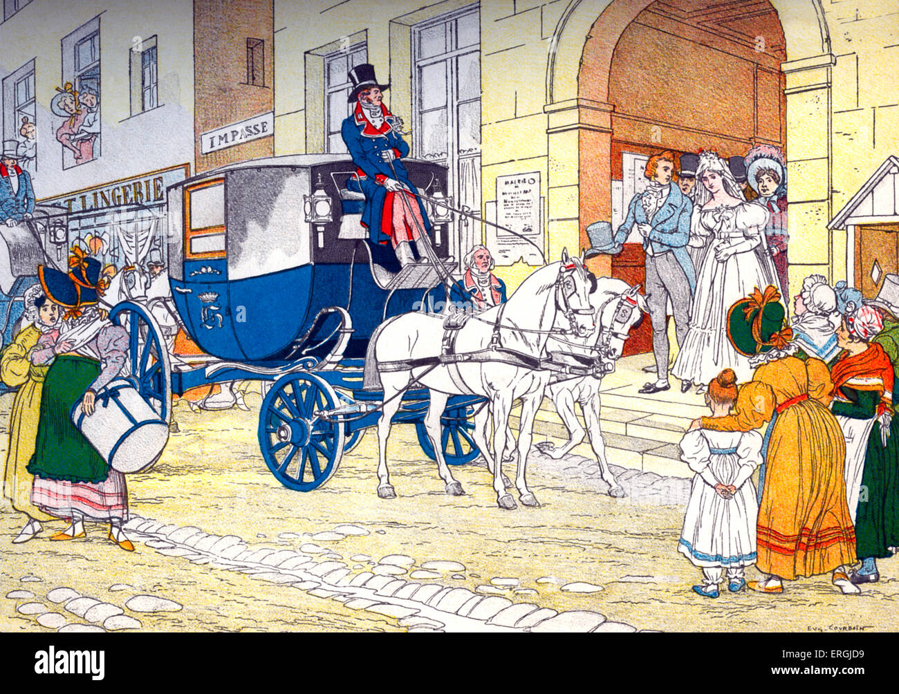 Barouche at wedding  (French: 'Célestine'), 1880.  19th century horse-drawn carriage. From illustration - Stock Image