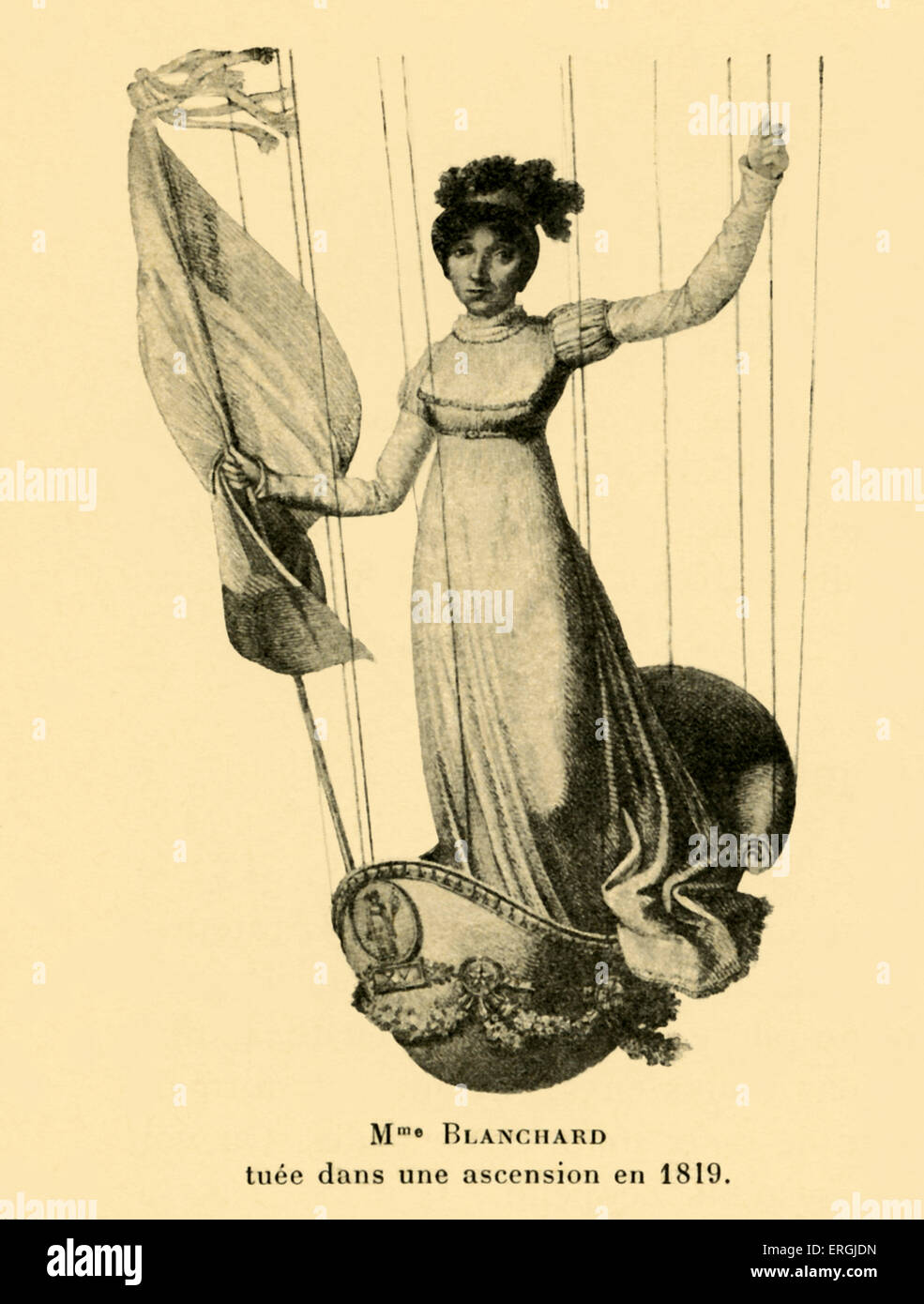 Sophie Blanchard riding in a hot air baloon basket. Killed during an ascention in 1819. Artist unknown. French aeronaut Stock Photo