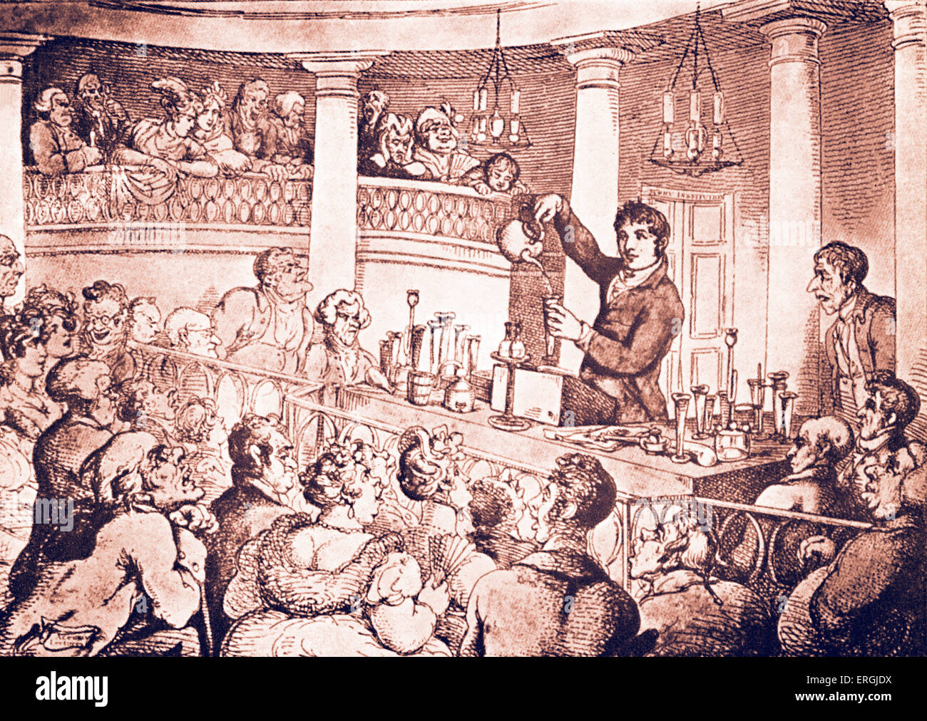 German chemist Friedrich Accum (29 March 1769 – 28 June 1838) lecturing on food adulteration at the Surrey Institution. - Stock Image
