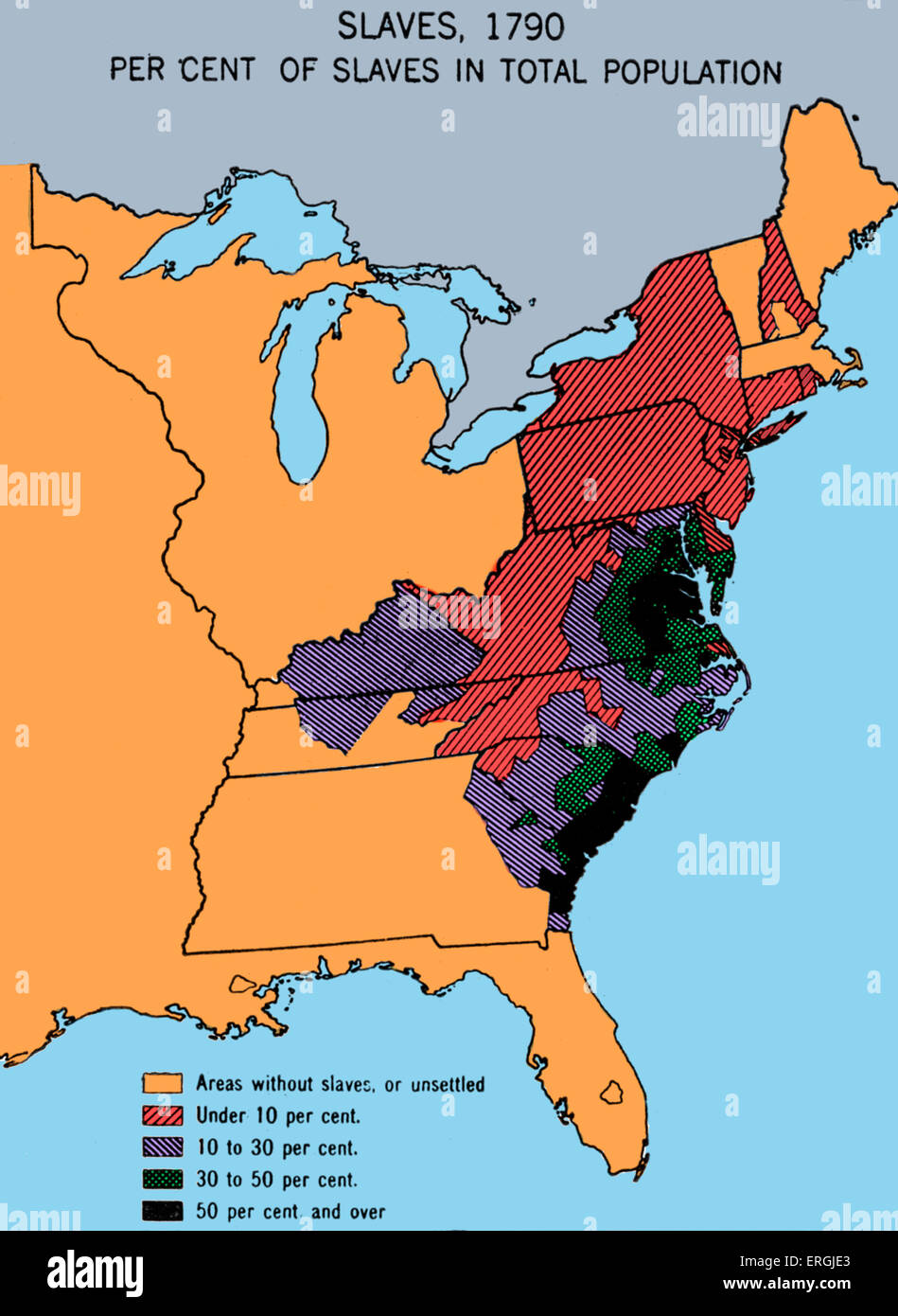 Map depicting density of slavery in theUSA in 1790. Shows chief slave states as Virginia and the Carolinas. - Stock Image