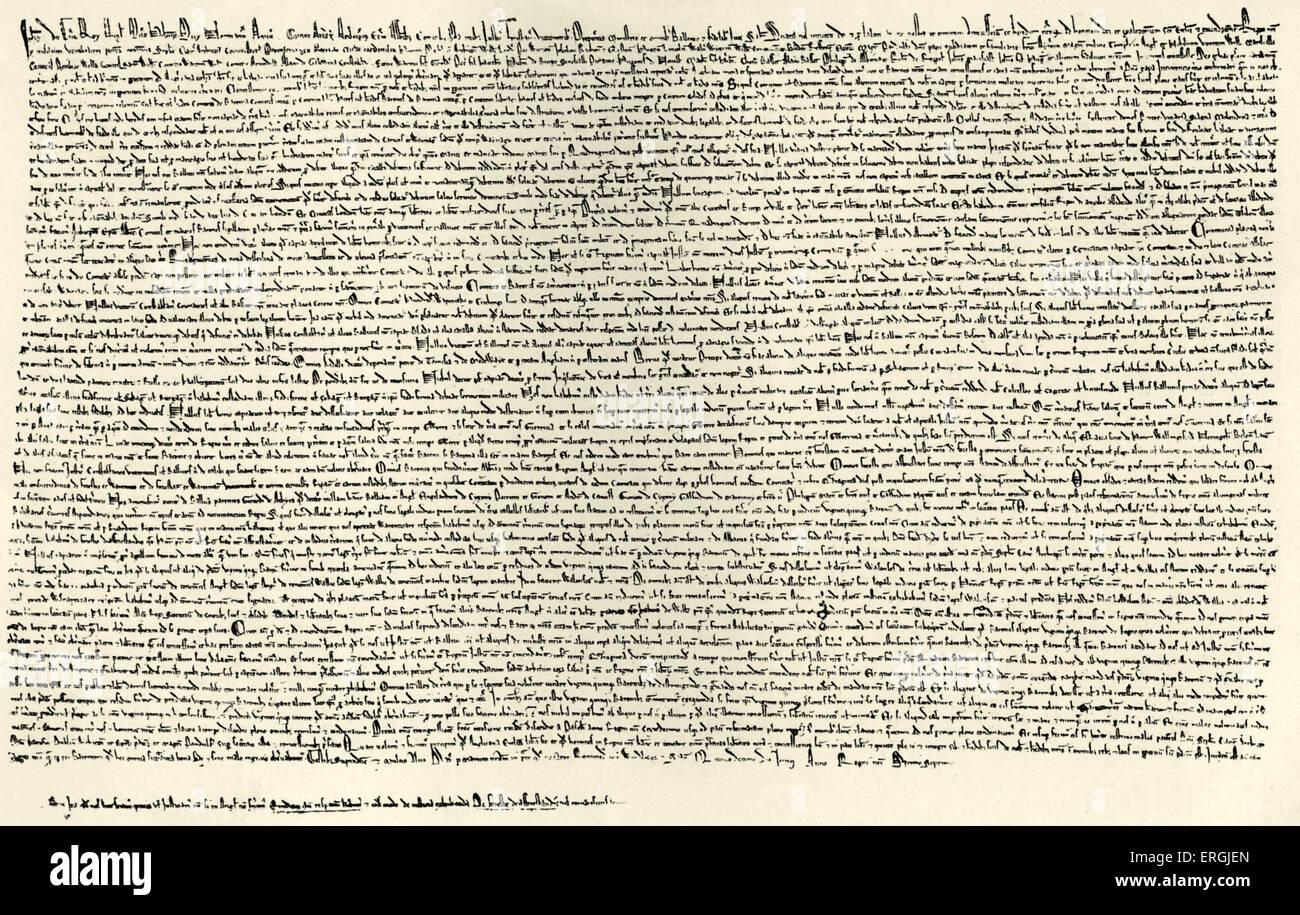 Magna Carta. Signed June 1215. Document producecd by Barons of King John in order the enshrine certain freedoms - Stock Image