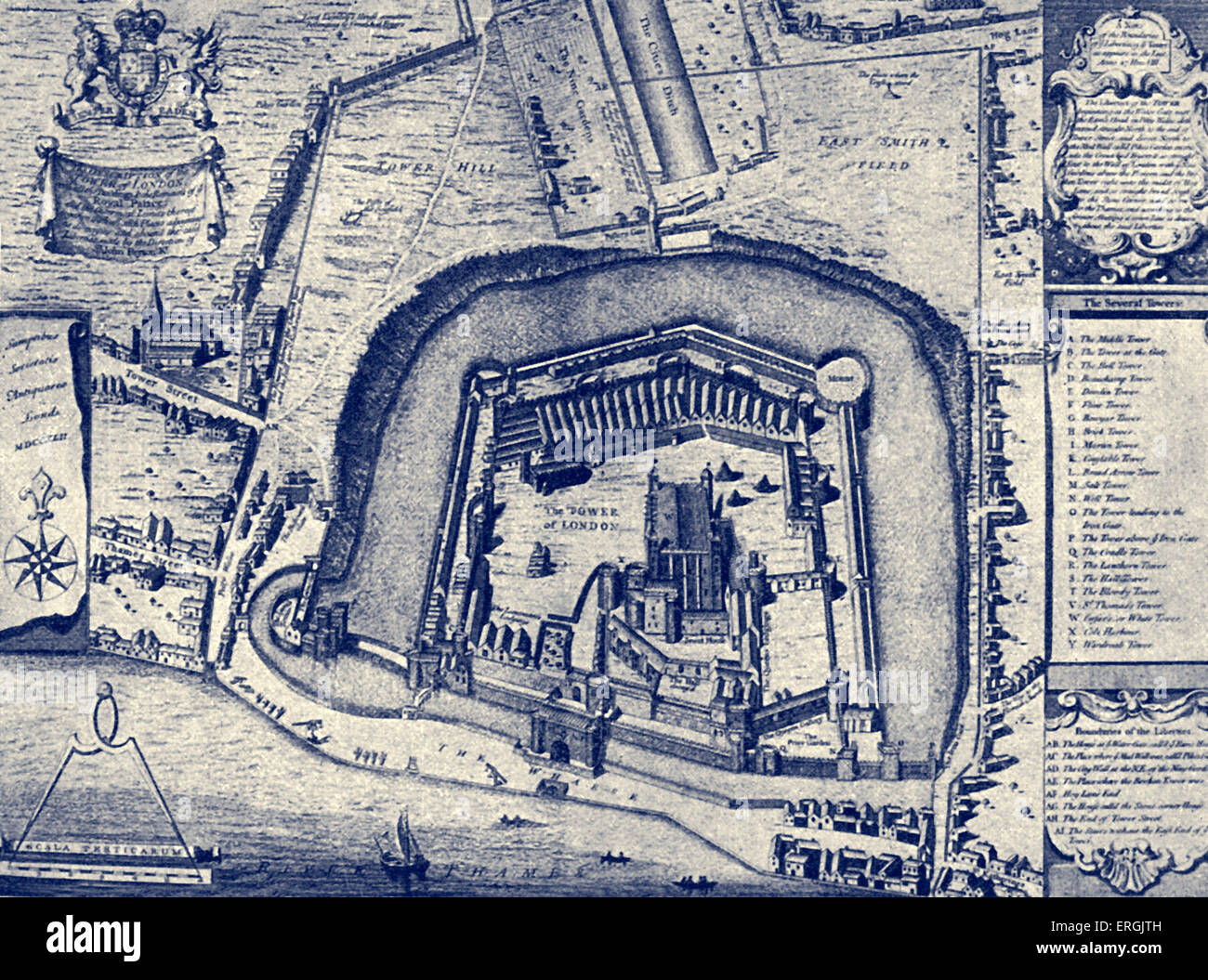 The Tower of London - from plan made in 1597. (Entitled: 'Vestuta Monumenta' ('Ancient monuments'). - Stock Image