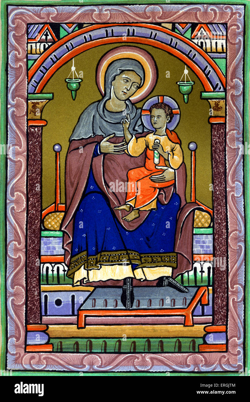 Virgin Mary and Child. After 13th century drawing. - Stock Image