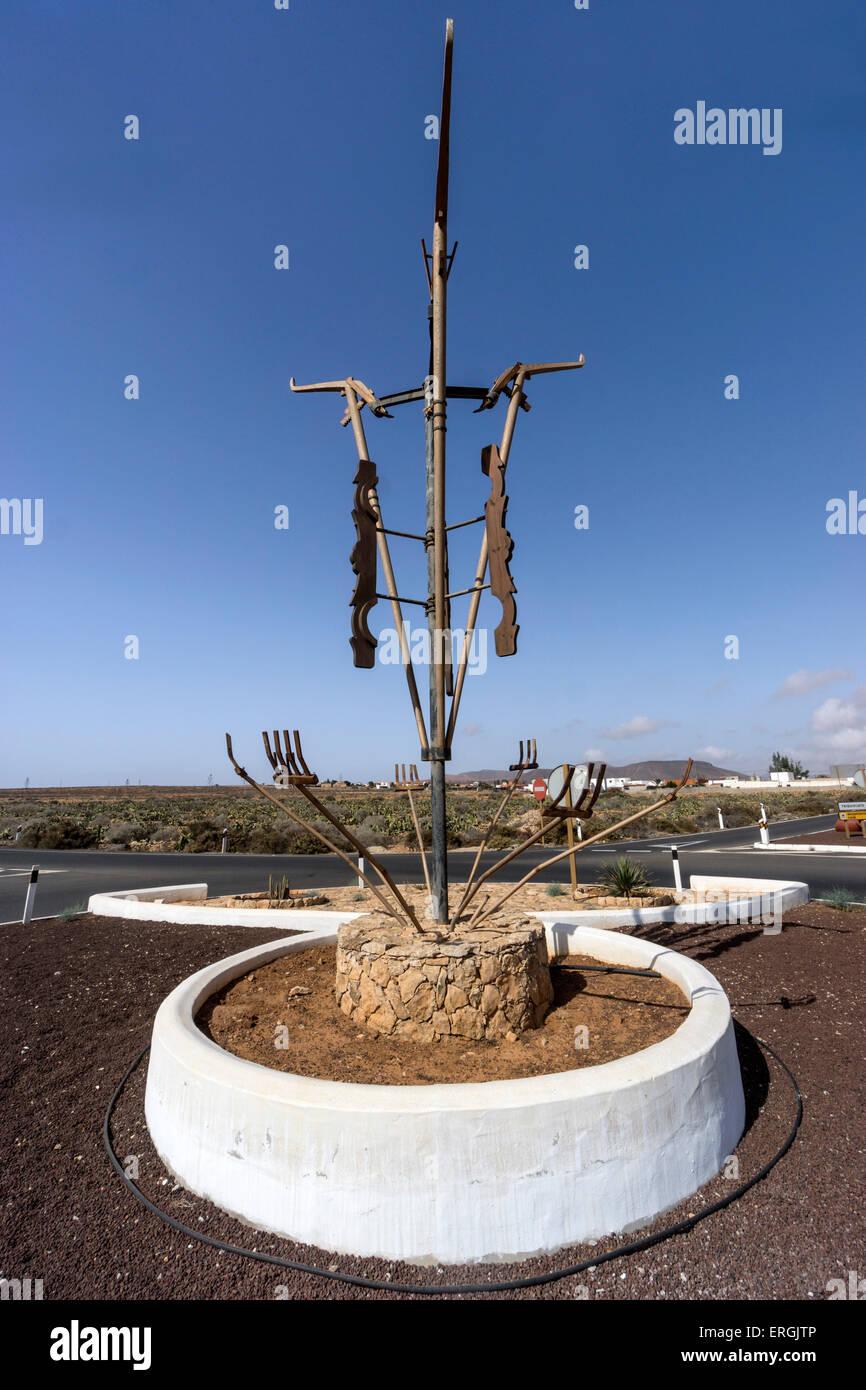 Sculpture at Roundabout in Fuerteventura, Spain - Stock Image
