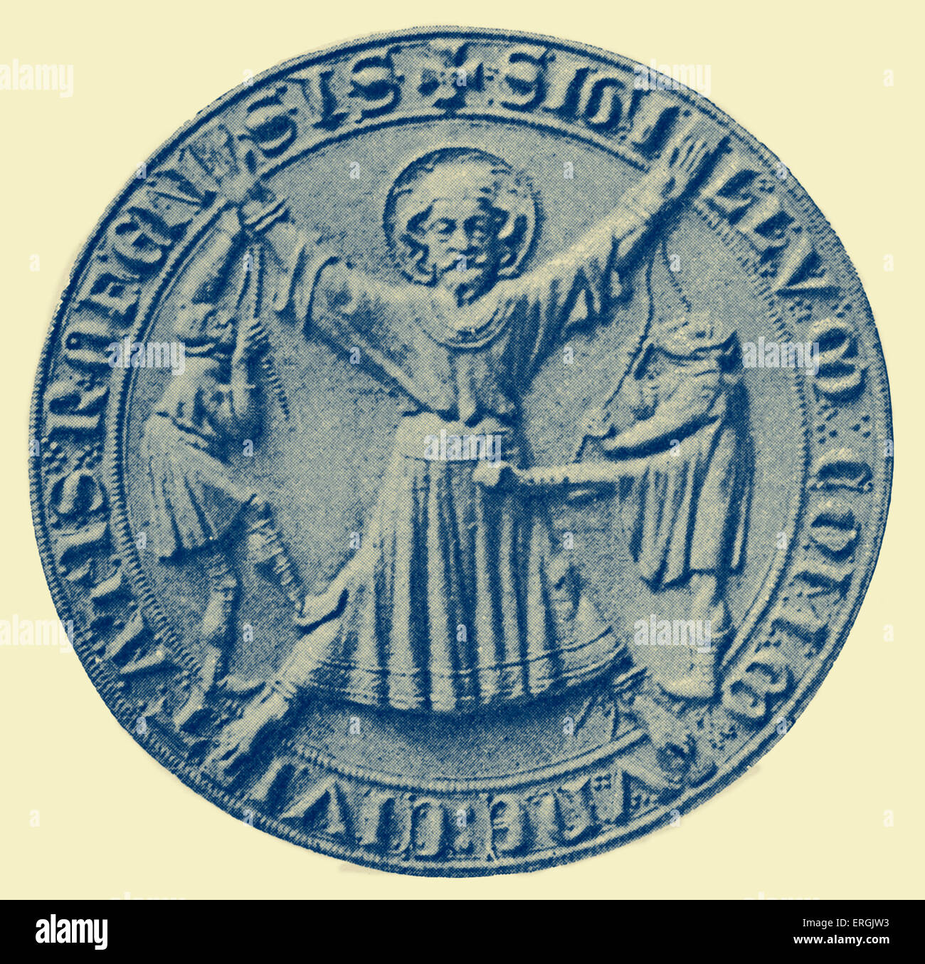 Seal of Rochester, c. 1300. Obverse. Town in Kent, UK. - Stock Image