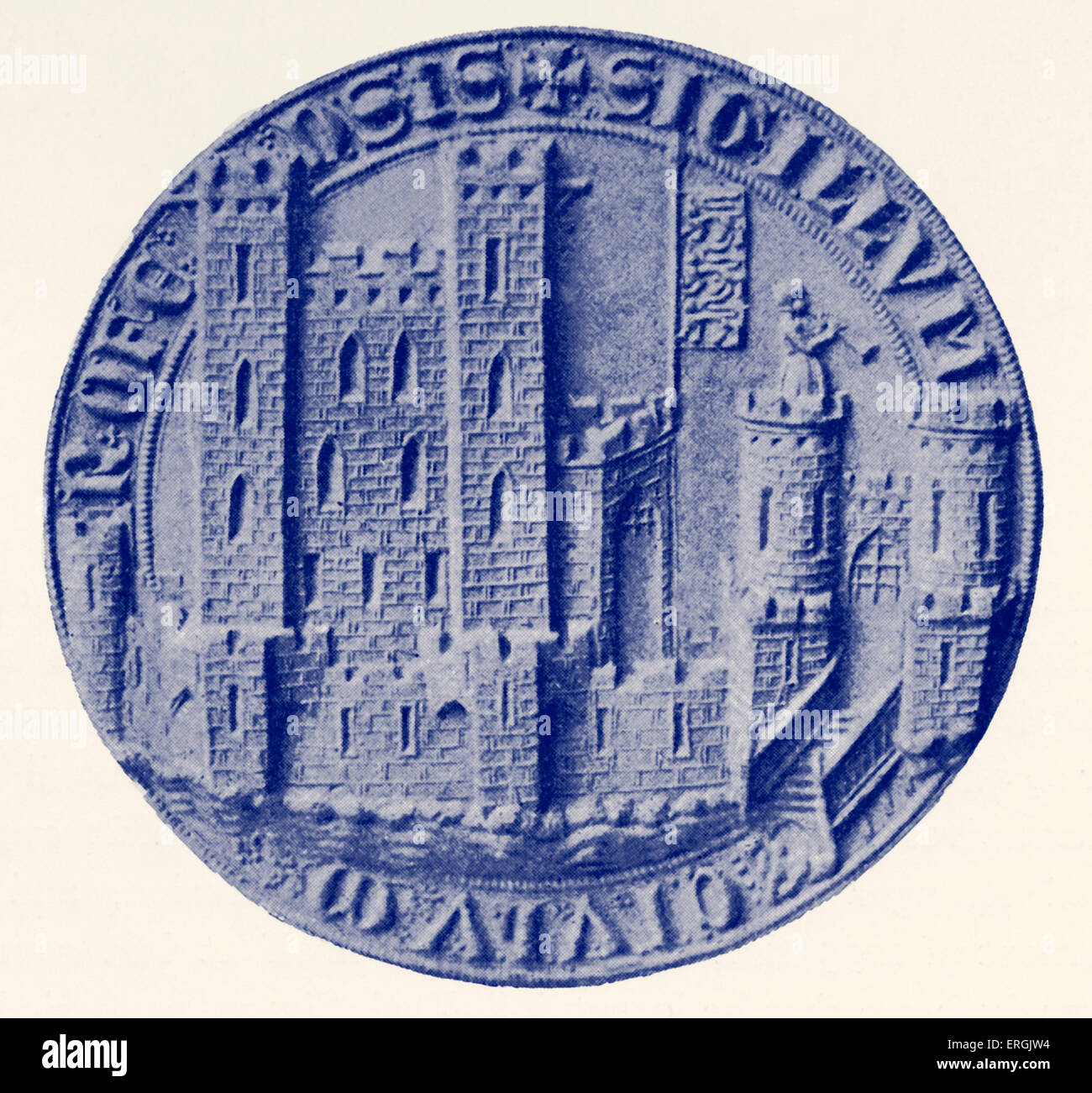 Seal of Rochester, c. 1300. Reverse. Town in Kent, UK. - Stock Image