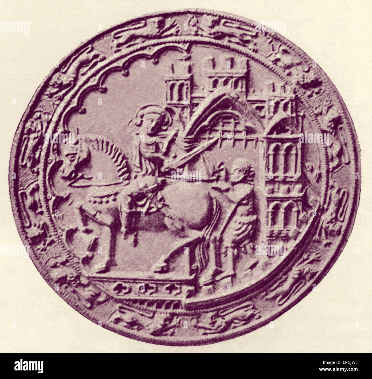 Seal of Dover,  1305. Obverse. Coastal town in Kent, UK. - Stock Image