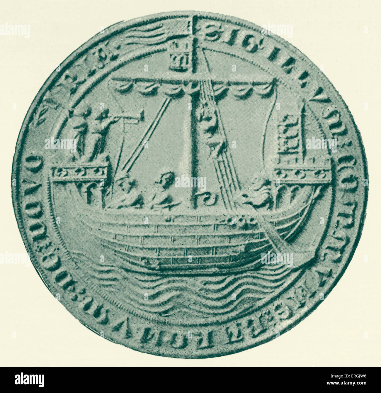 Seal of Dover,  1305. Reverse.  Coastal town in Kent, UK. Depicting a ship. - Stock Image