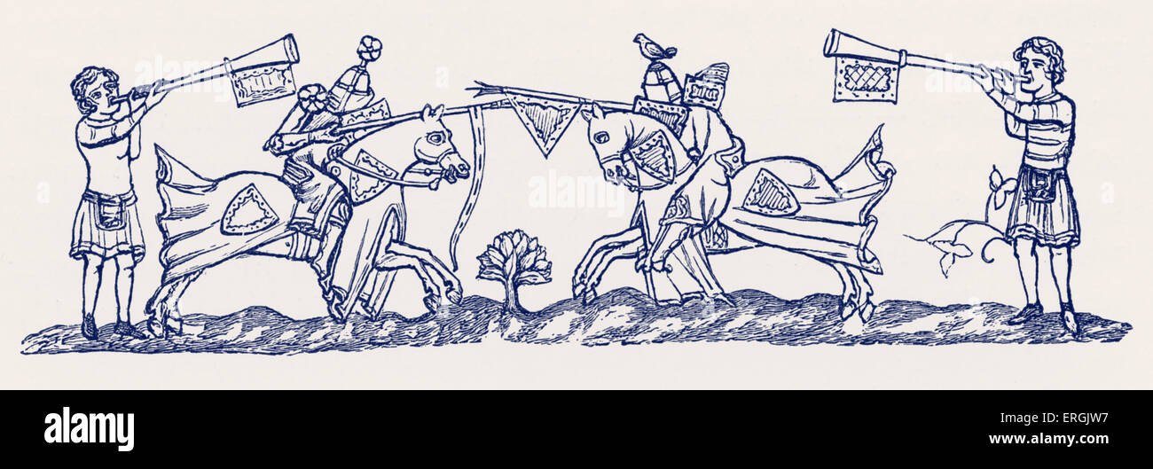 Tilting, early 14th century. England. Form of jousting. - Stock Image