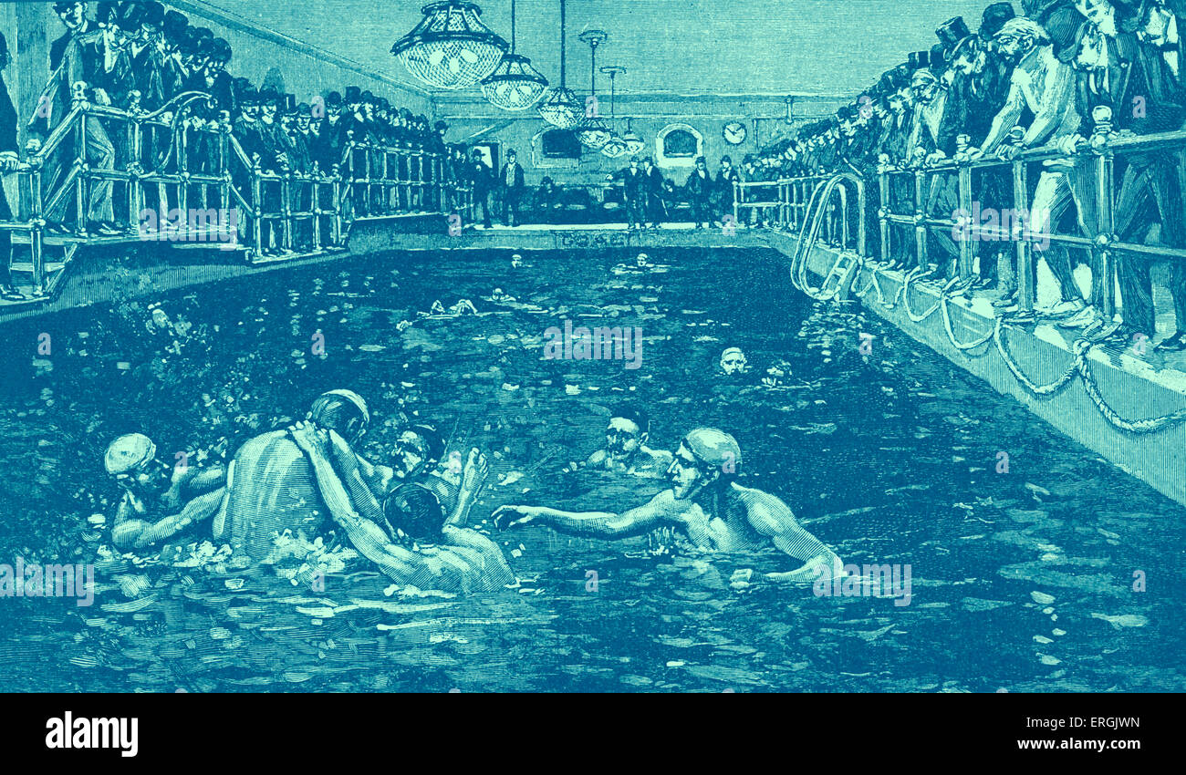 Water polo at the Old Manhattan Athletic Club, New York, circa 1890s. - Stock Image