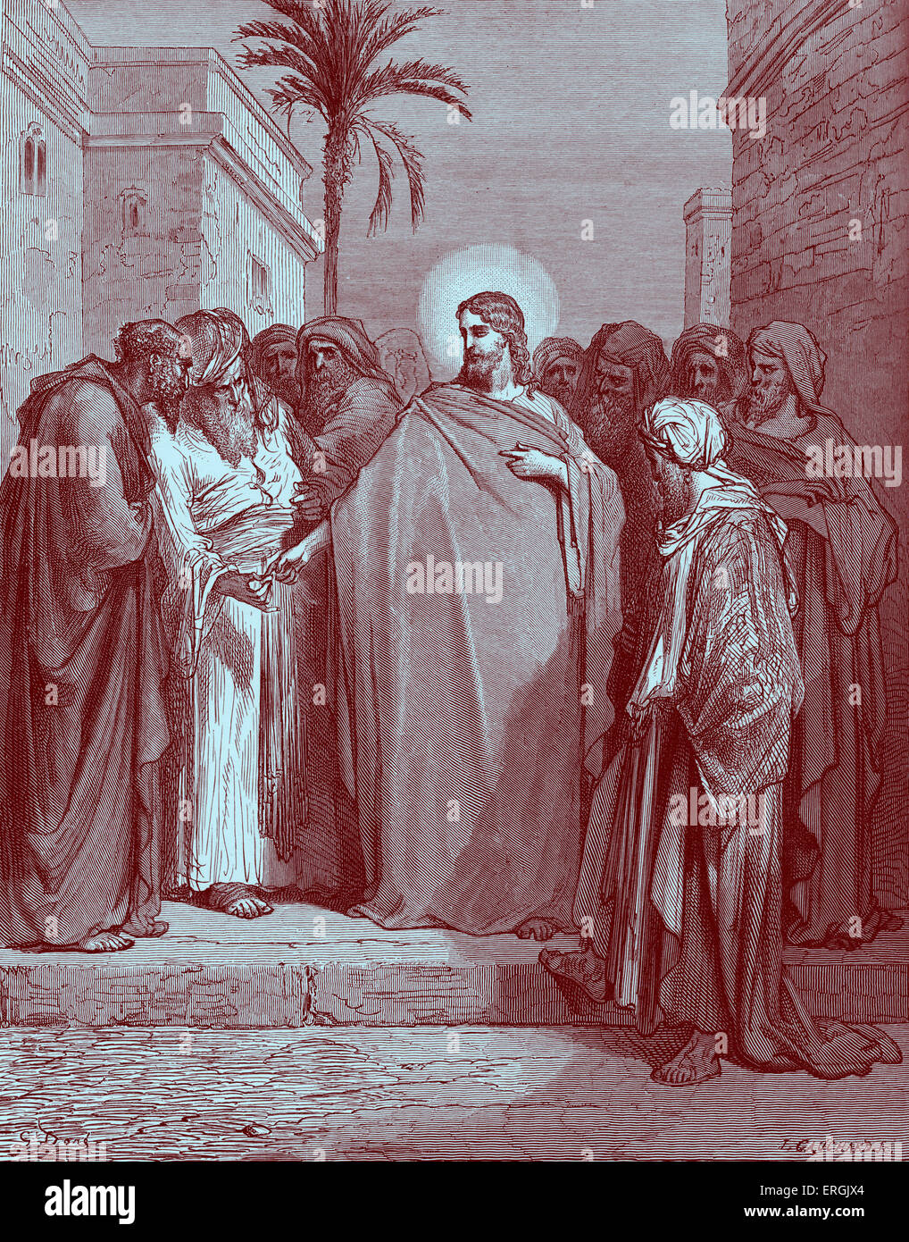 Christ and the Tribute Money. Jesus is asked whether it is right to pay tribute to Caesar and replies 'Render - Stock Image