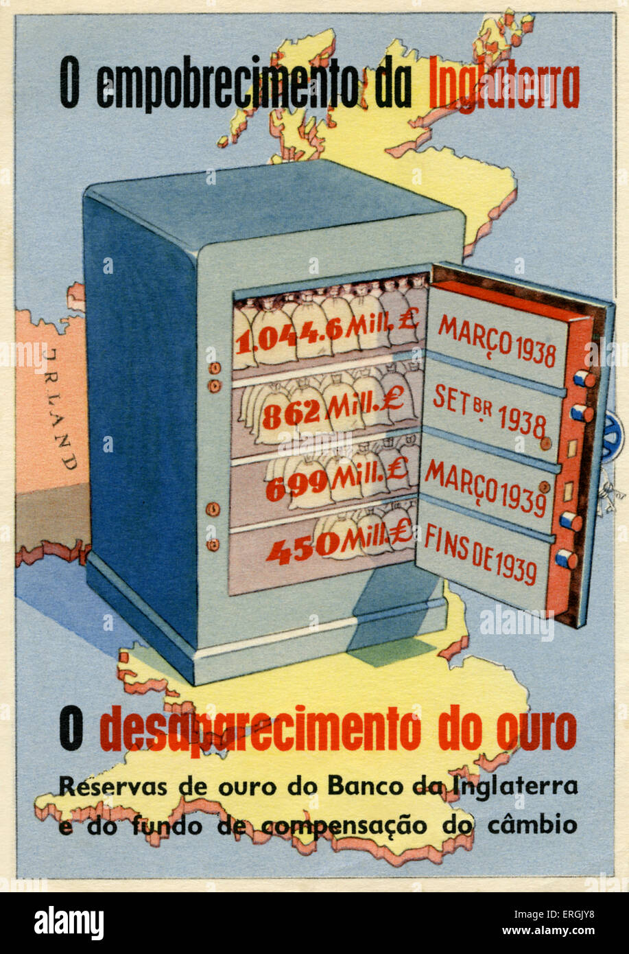 WW2: Portugeuse cartoon on shrinking British gold reserves between March 1938 and the end of 1939. Caption: 'O - Stock Image