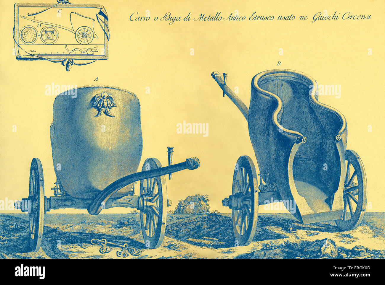 Etruscan chariot - used in  Circensian Games (Ancient Rome). - Stock Image