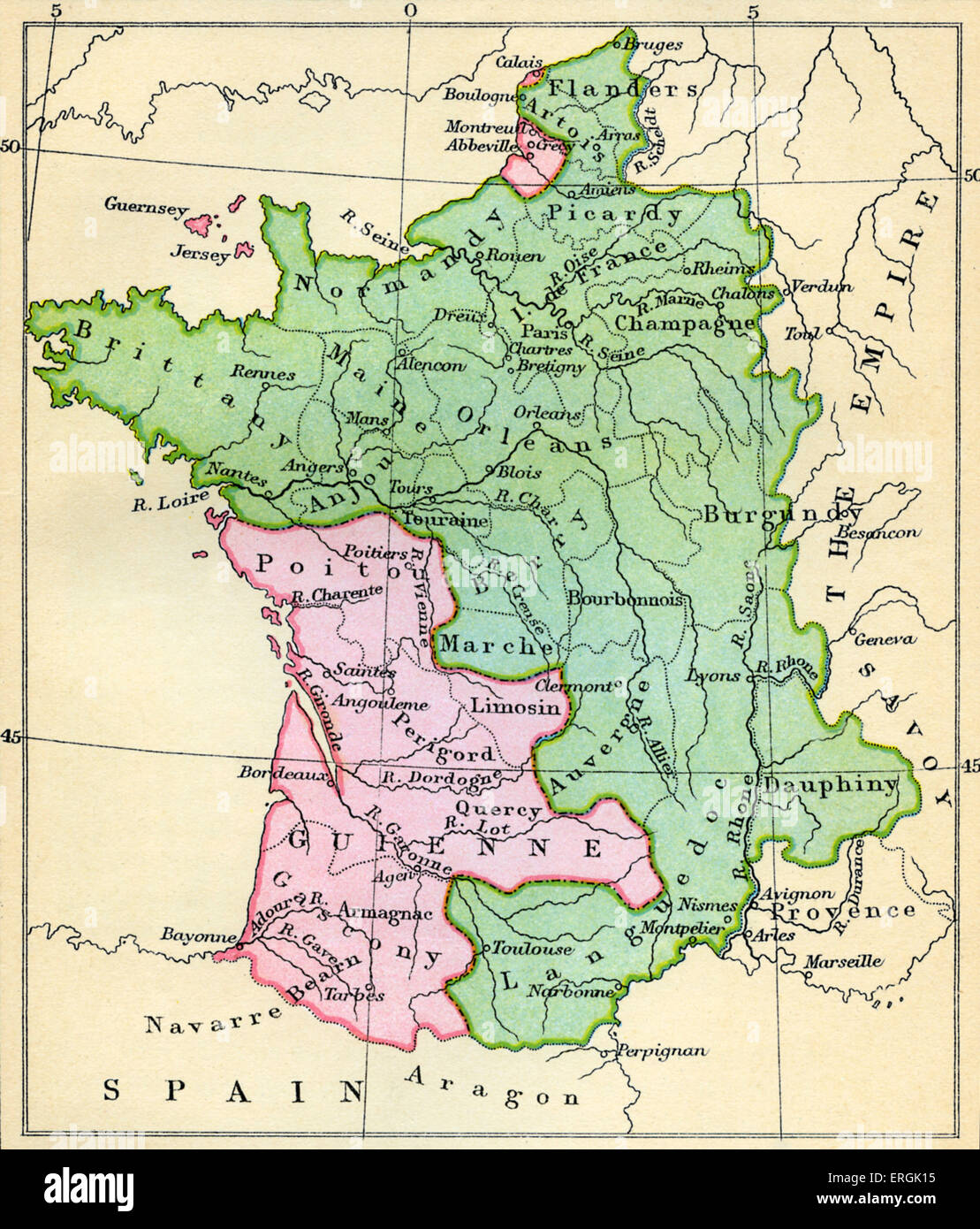 Map of France at the Treaty of Brétigny, 9 May 1360. Treaty between ...