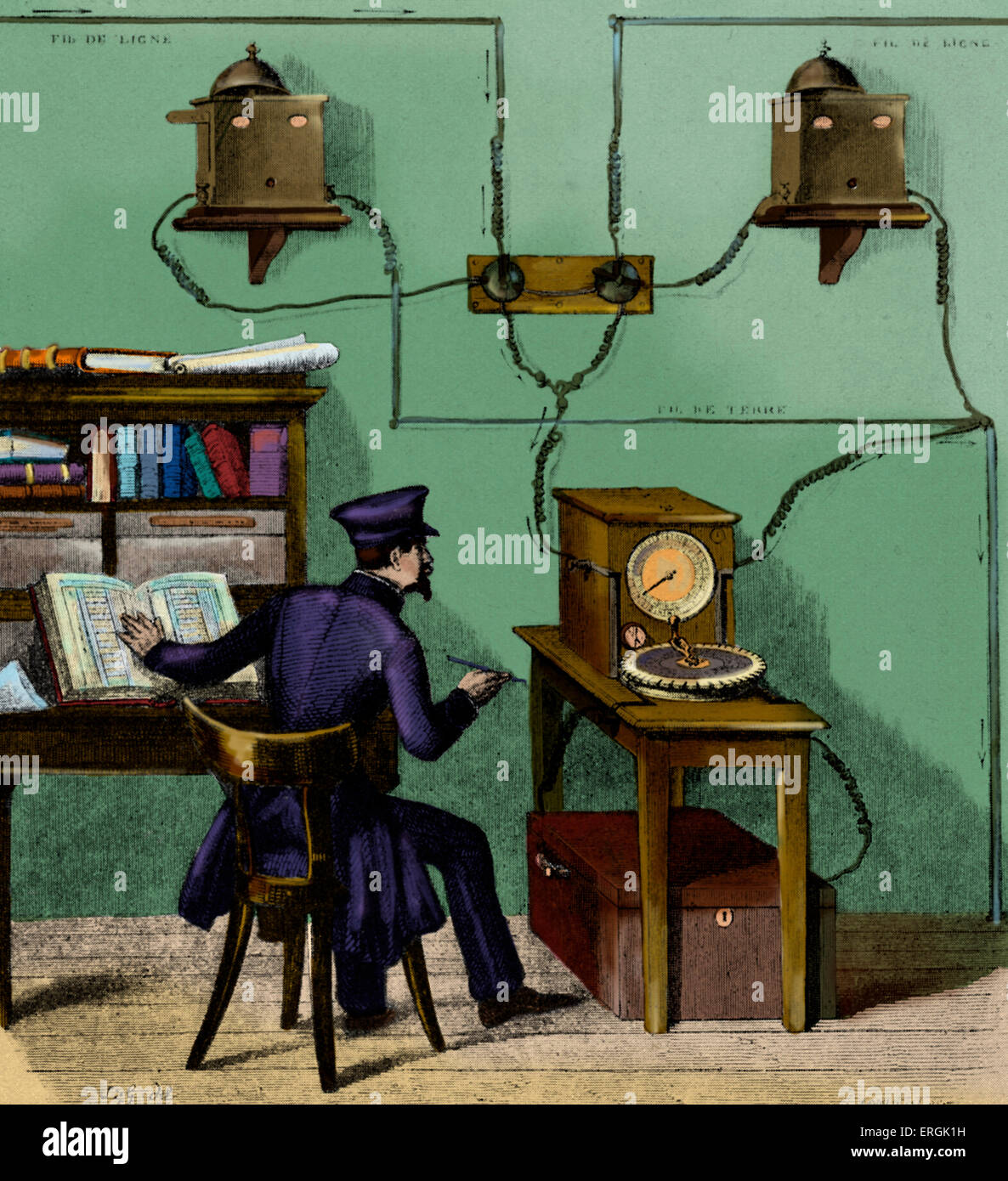 French telegraph Operator receiving a message, in Breguet, 1861.  Telegraph messages - telegrams - were sent  by - Stock Image