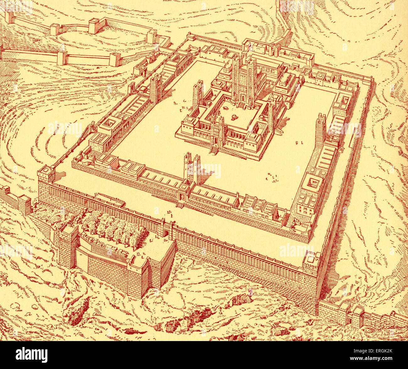 The Temple, Jerusalem.   Reconstructed by  Charles Chipiez.  (Herod's Temple destroyed in 70 AD) - Stock Image