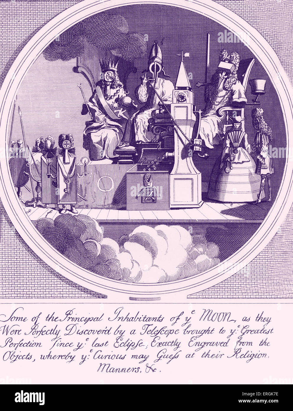 Royalty, Episcopacy, and Law  by W. Hogarth 1724 Caption reads: Some of the Principal Inhabitants of ye Moon, as - Stock Image