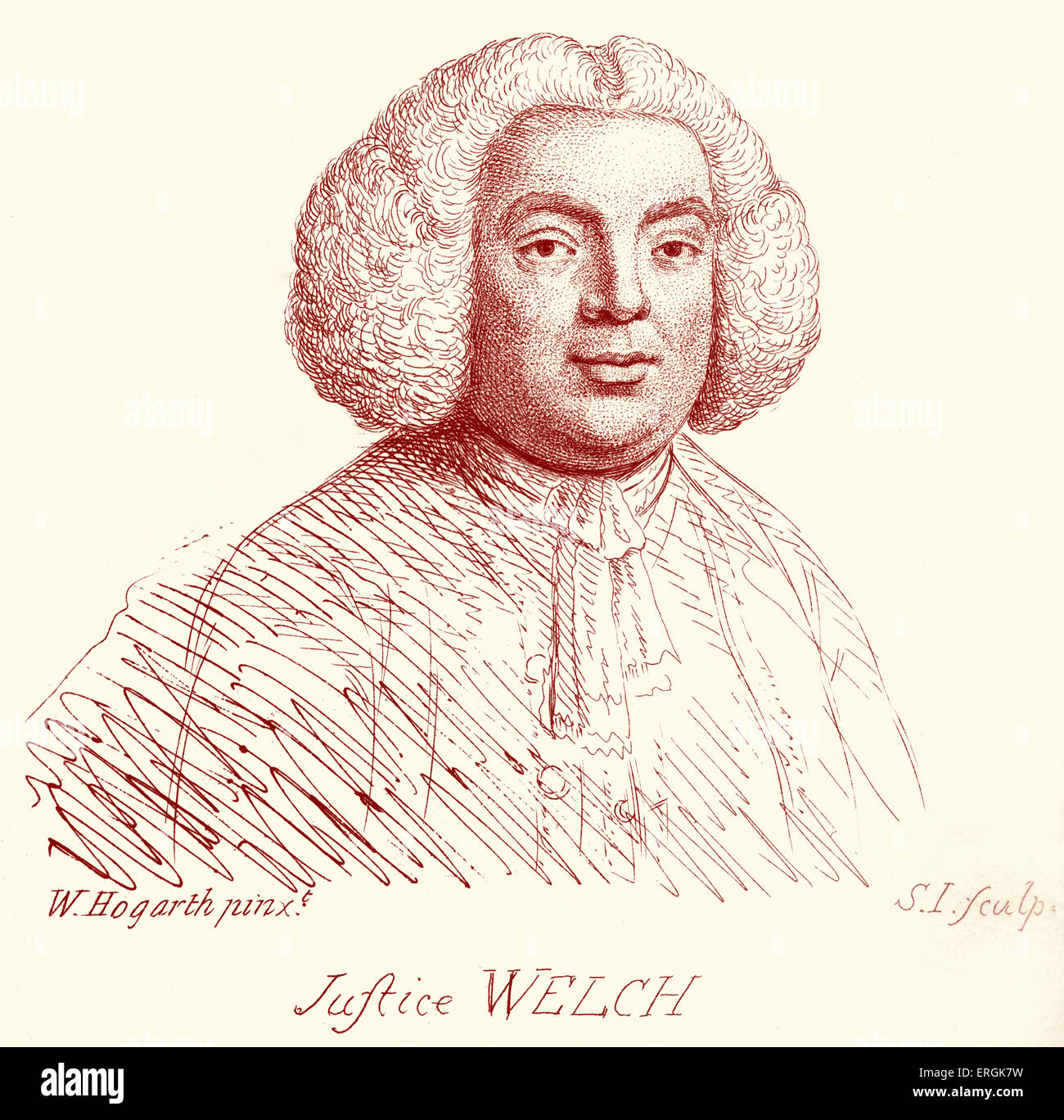 Justice Welch - portrait by William Hogarth. Engraved by Samuel Ireland. C. 1787. - Stock Image