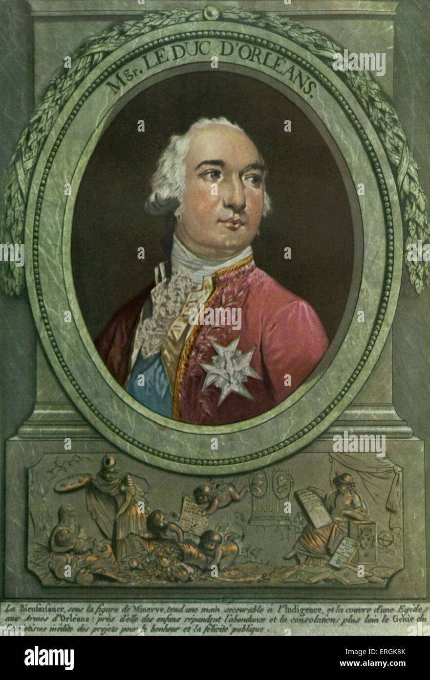 Louis Philippe Duke of Orléans (1747 - 1793), wearing blue sash and insignia of the Order of the Saint-Esprit - Stock Image
