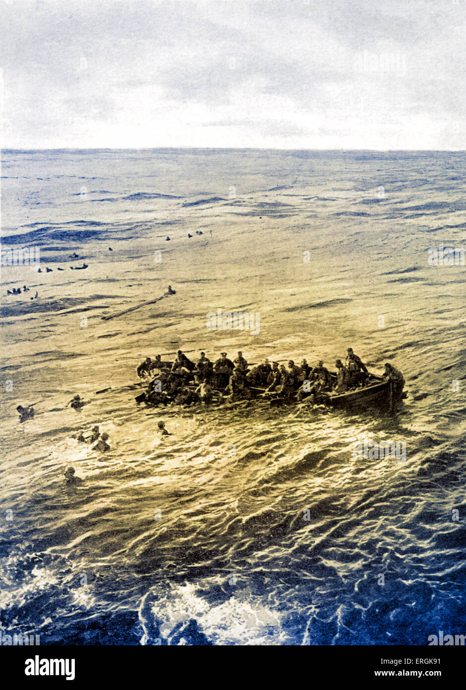 Survivors on a lifeboat from the Cunard liner 'Ivernia', after being sunk by a German submarine in the Mediterranean, - Stock Image