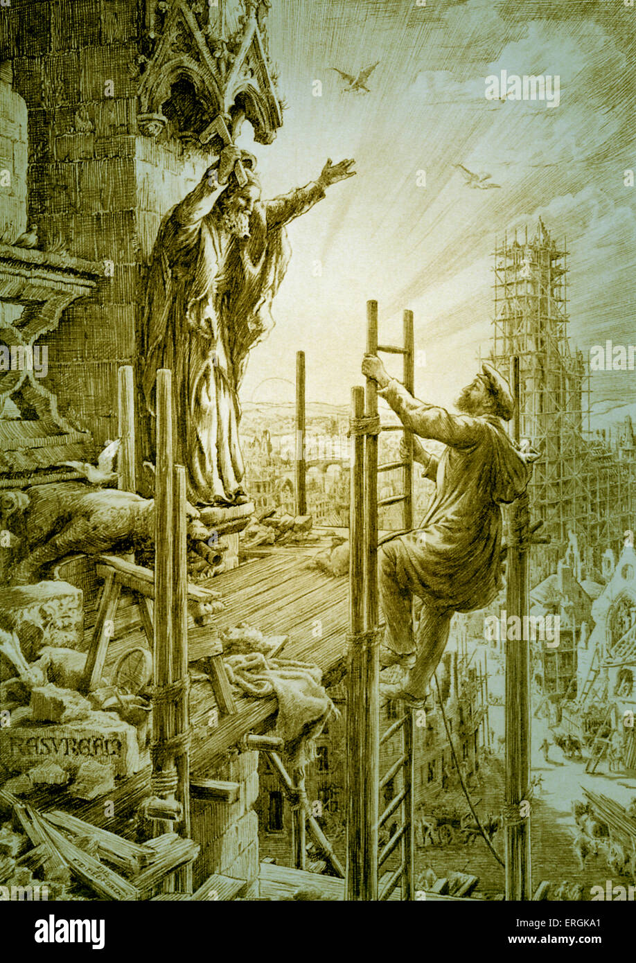 WW1: an allegory in which a builder climbs a scaffold to repair a cathedral, rebuilding Britain after WW1. 'Resurgam' - Stock Image