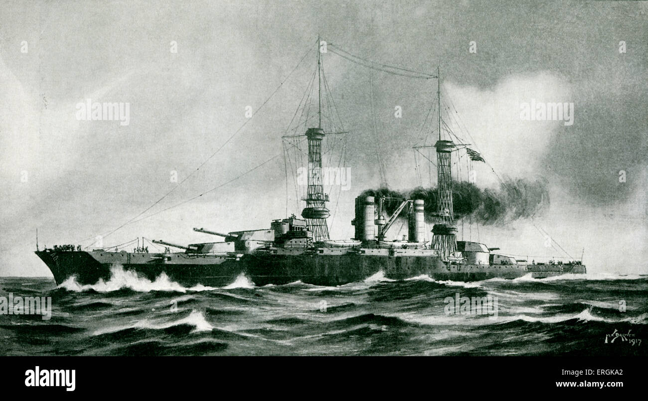 WW1: the U.S.S. Colorado, 1917. Drawn by Max Barnett. - Stock Image
